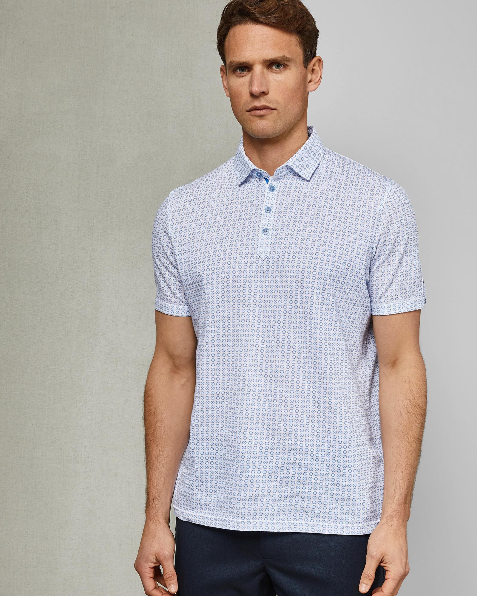 c96380b02062 Lyst - Ted Baker Flee Geometric Print Regular Fit Polo Shirt in Blue ...