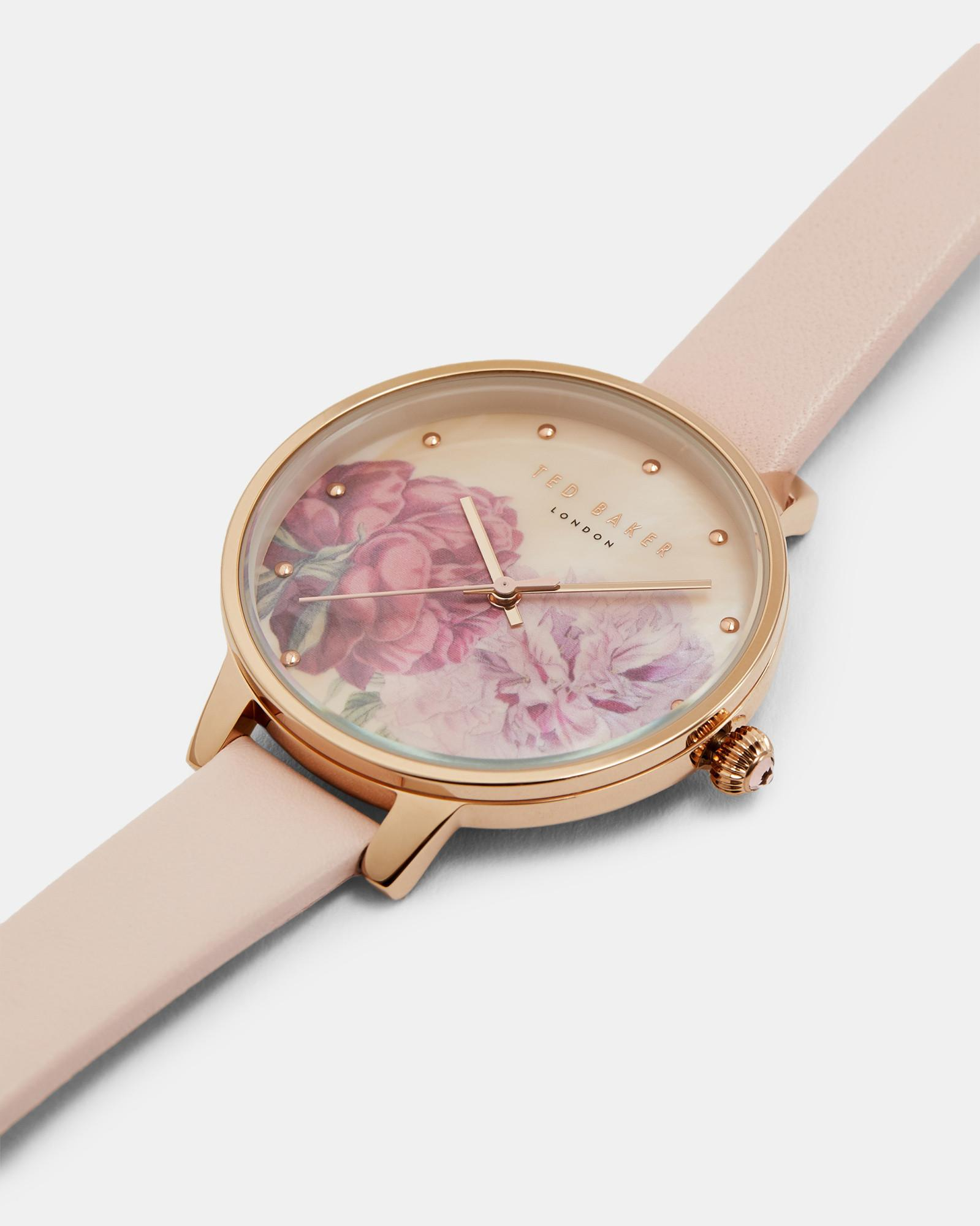 056d40665 Lyst - Ted Baker Printed Watch in Pink