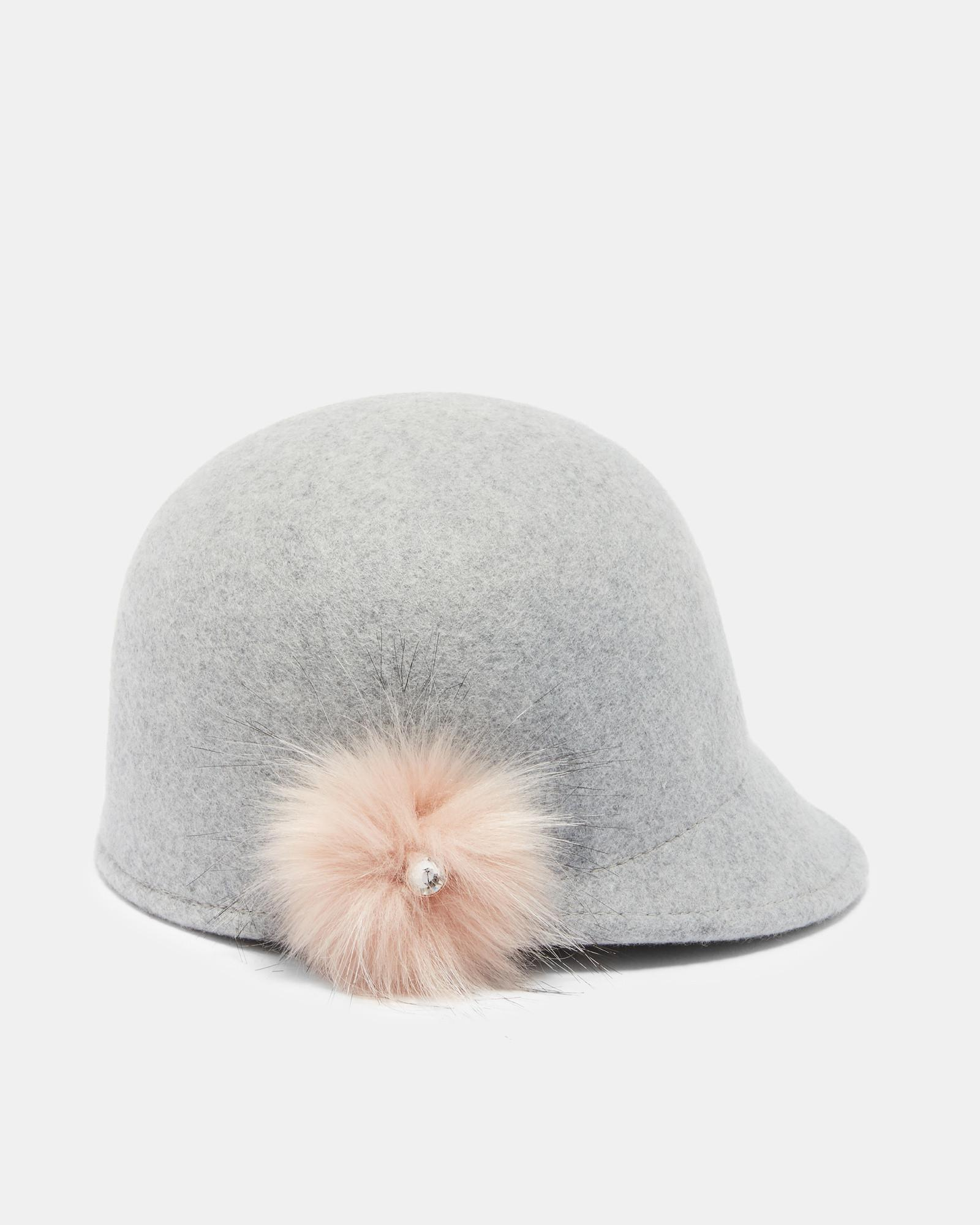 a3cc34cad94d4c Lyst - Ted Baker Faux Fur Pom-pom Hat in Gray
