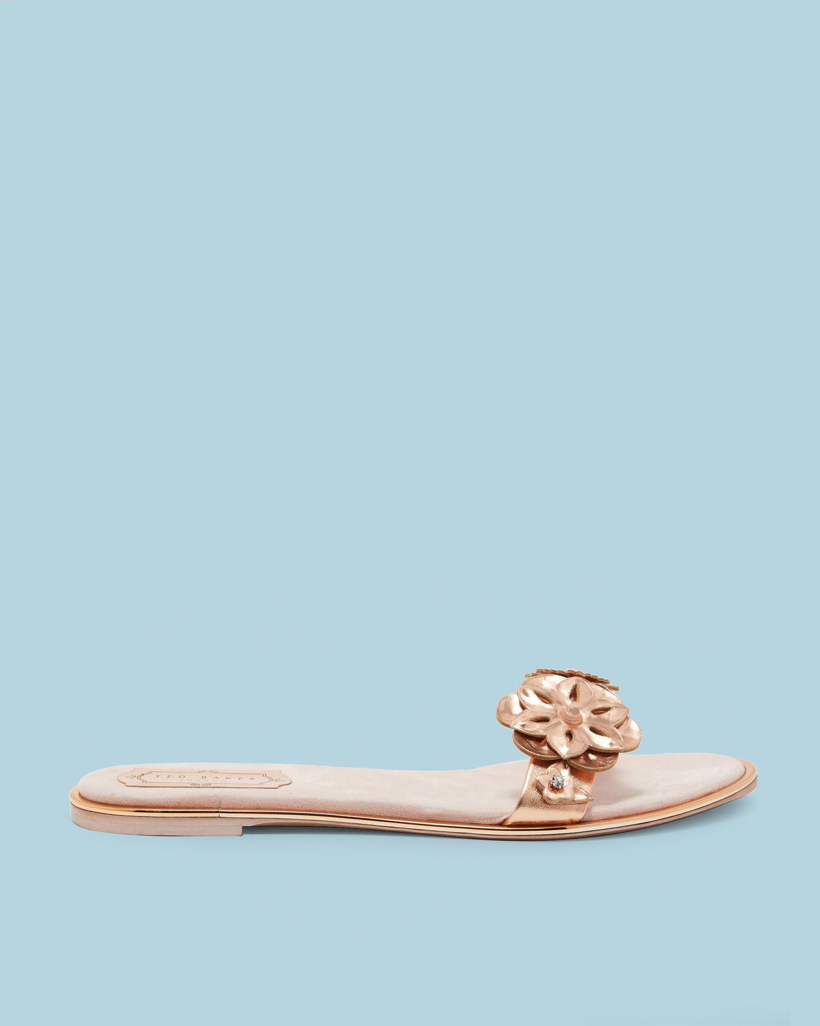 3fde23bb419d Lyst - Ted Baker Floral Embellished Flat Sandals in Blue