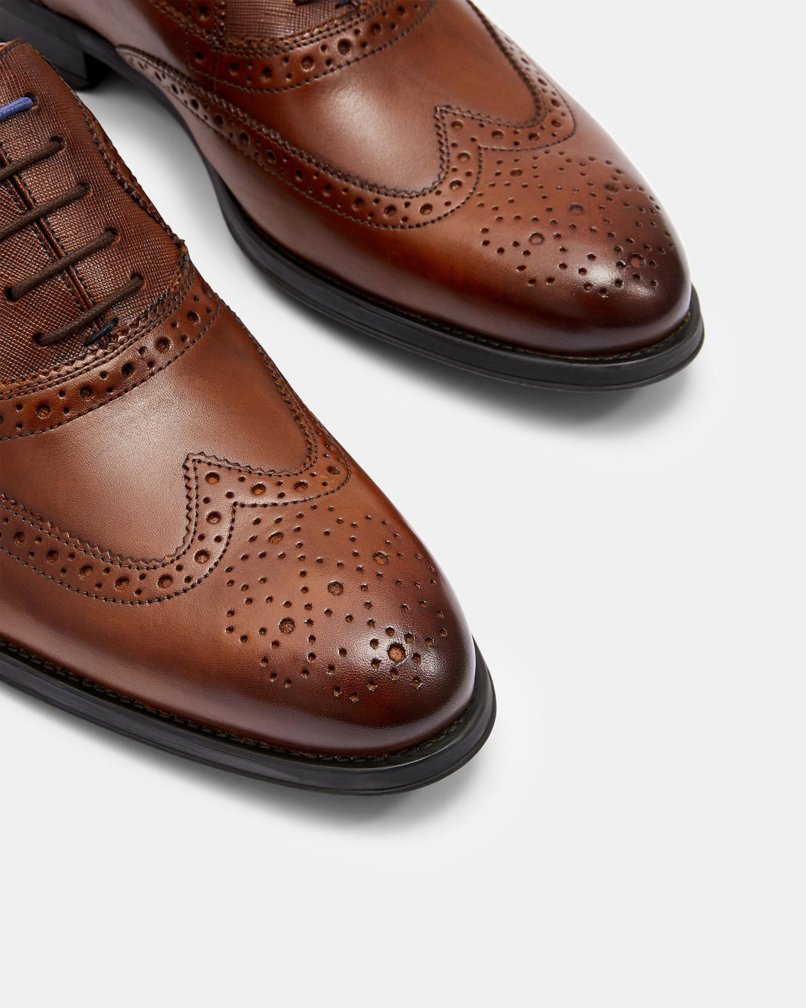 42ac18649b05ce Lyst - Ted Baker Leather Wing Cap Brogues in Brown for Men