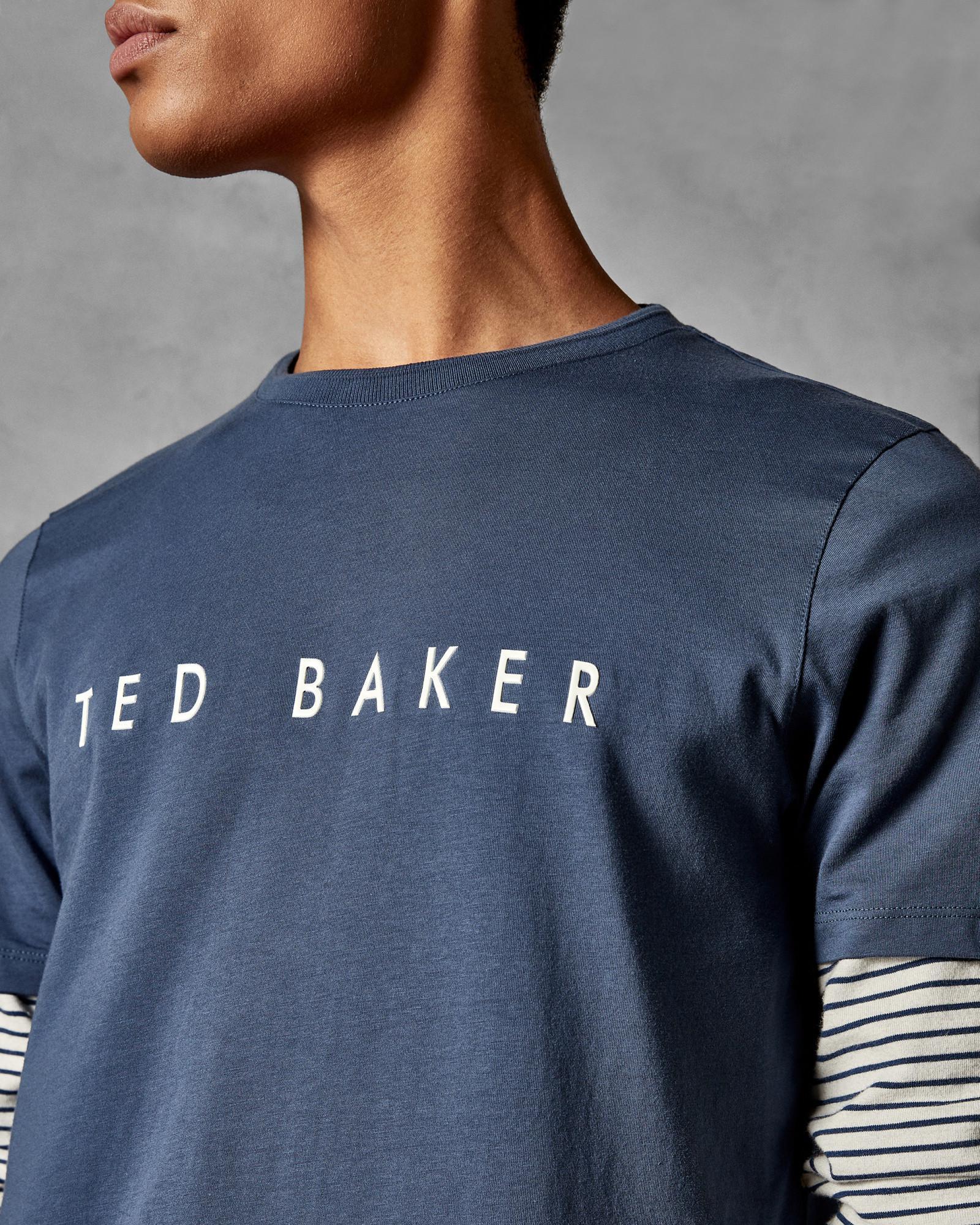 080f0df6 Ted Baker - Blue Branded Cotton T-shirt for Men - Lyst. View fullscreen