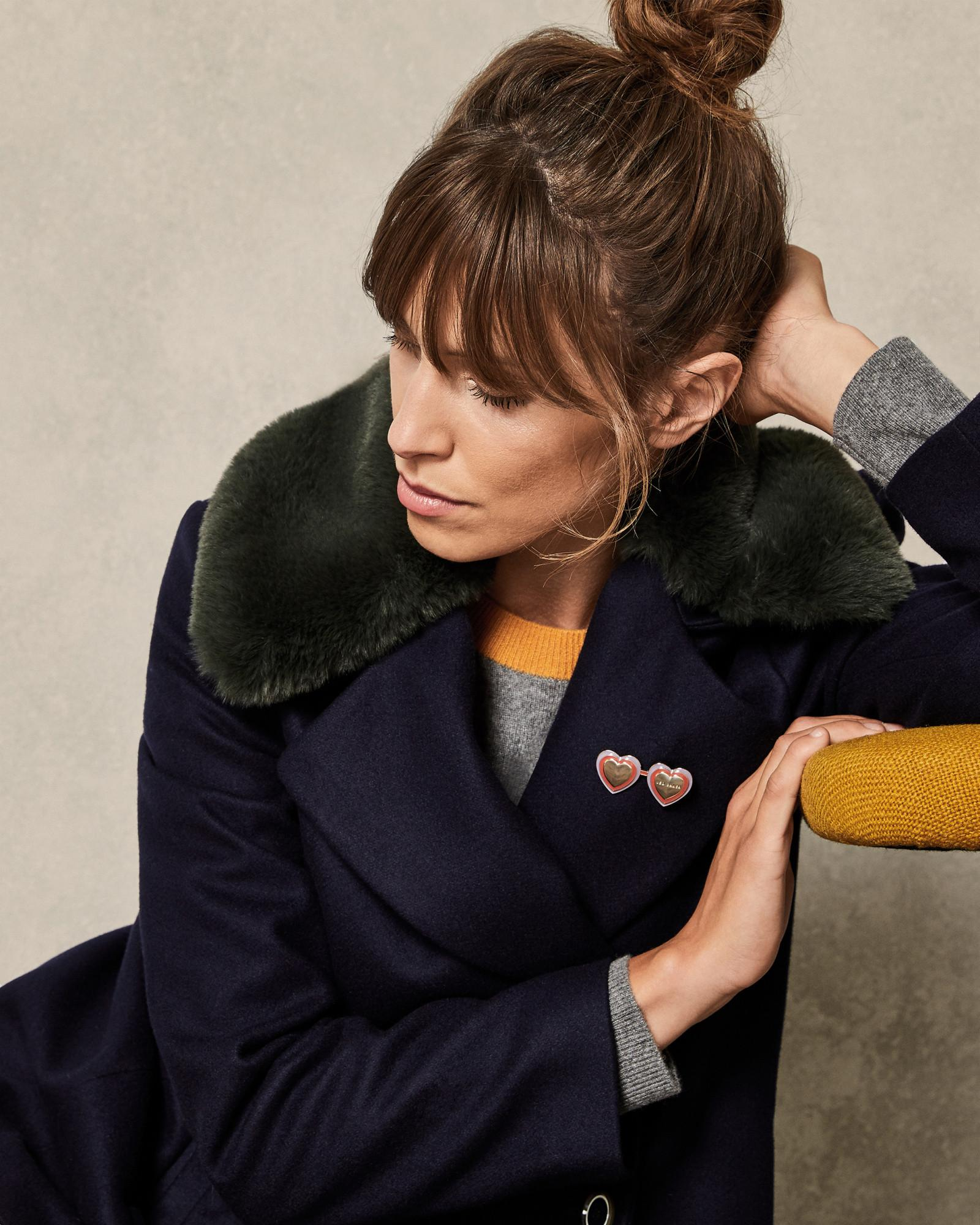 885be6901 Ted Baker - Blue Removable Faux Fur Collar Wool Pea Coat - Lyst. View  fullscreen