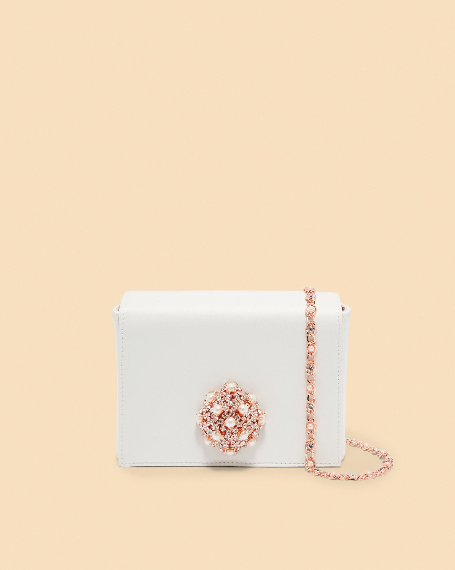 02a2cd1abcb Ted Baker Brooch Detail Evening Bag in White - Lyst