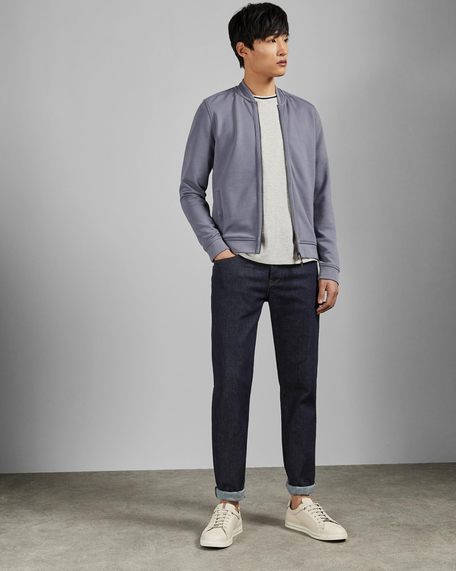 e17e46c8f6cc6d Ted Baker Bomber Jacket With Woven Panels in Purple for Men - Lyst