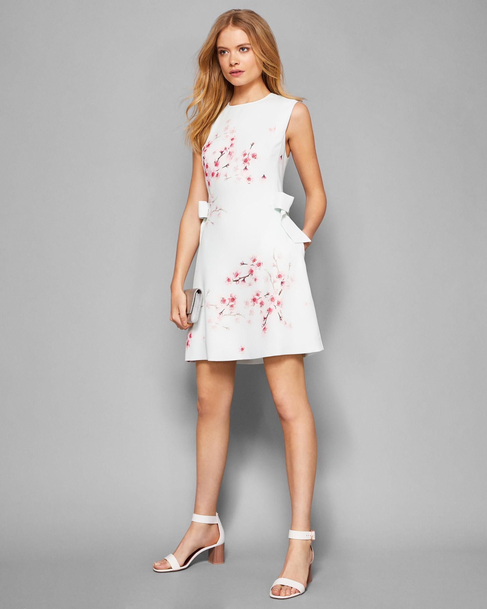 2625f2b63e3dc3 Ted Baker Soft Blossom Bow Detail Dress in White - Lyst