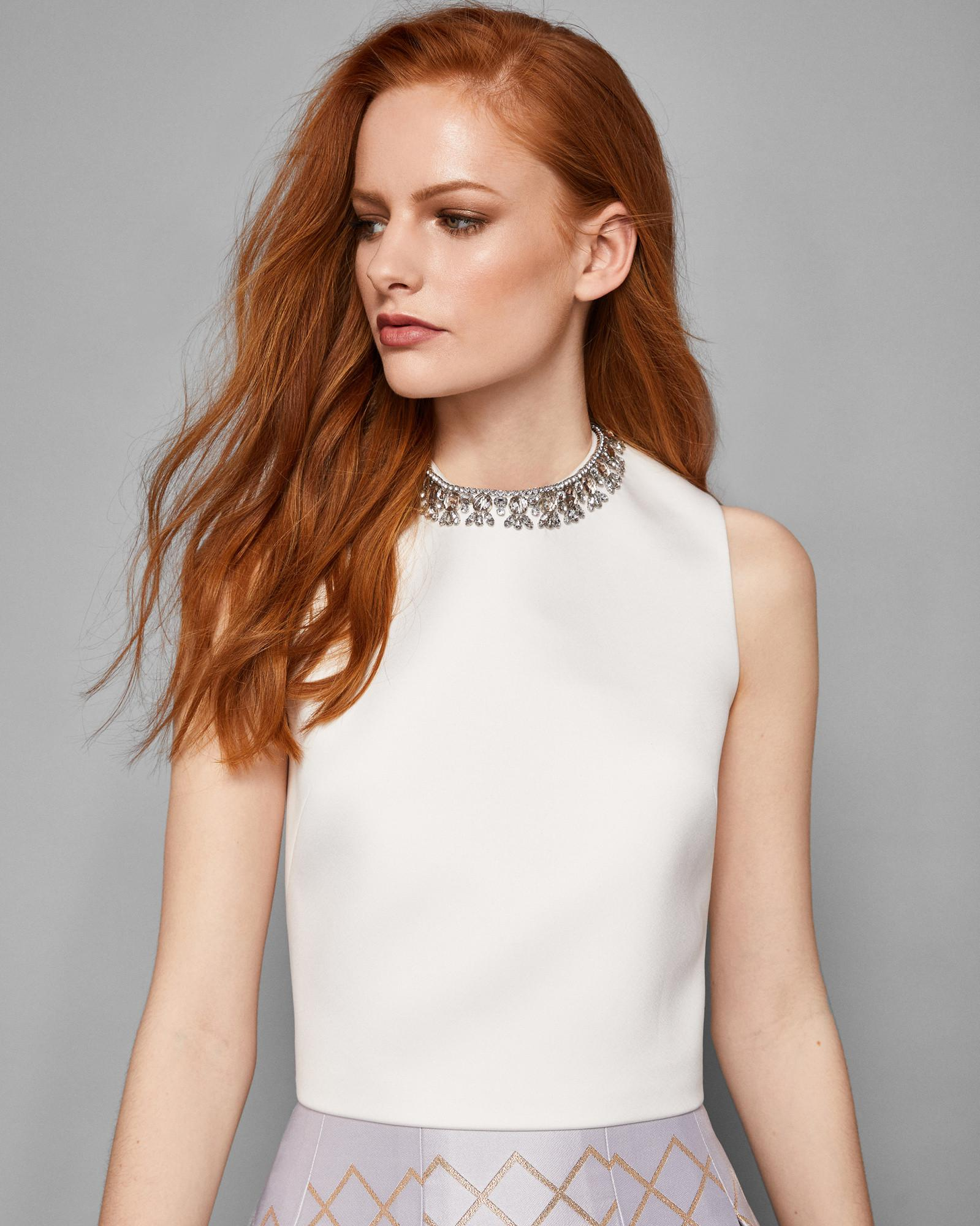 dfc7b814209827 Ted Baker Embellished Crop Top in Natural - Lyst
