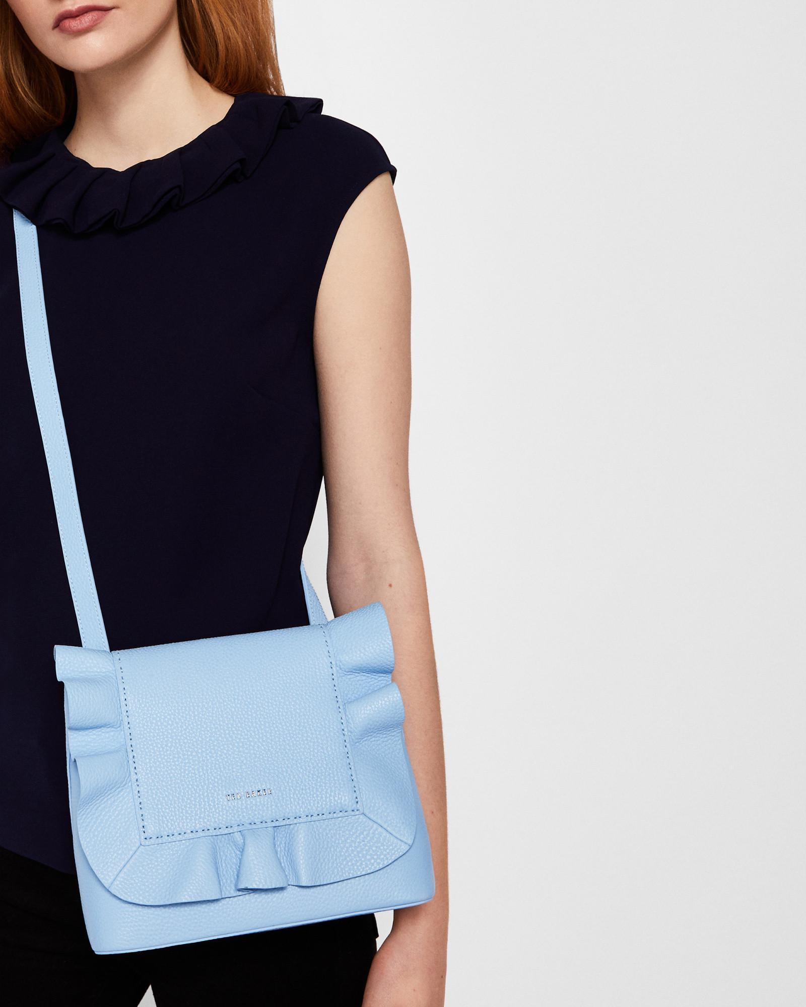 9c5925fd5 Ted Baker Leather Ruffle Multiway Backpack in Blue - Lyst