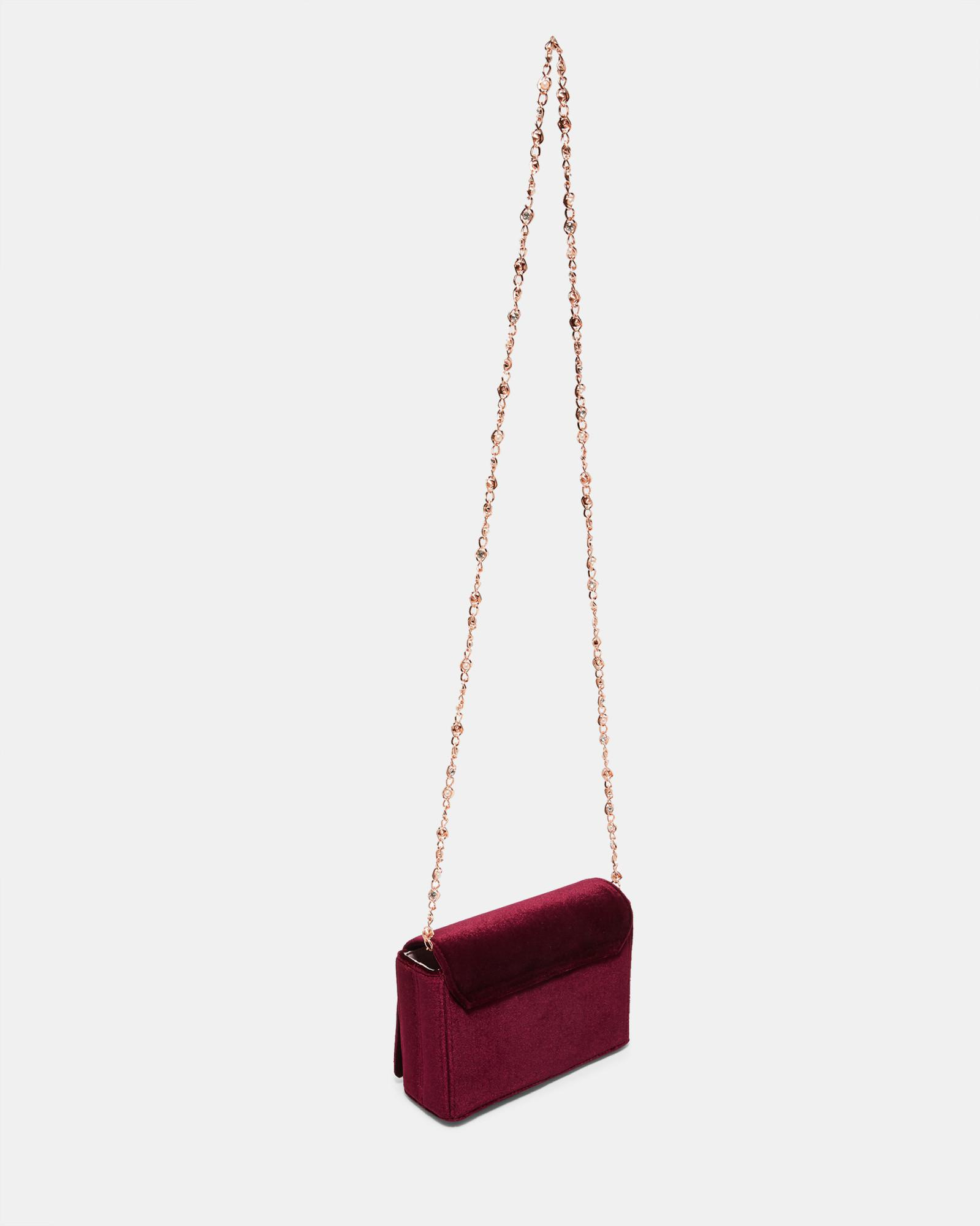 58e502c5b5 Lyst - Ted Baker Brooch Detail Velvet Evening Bag in Red