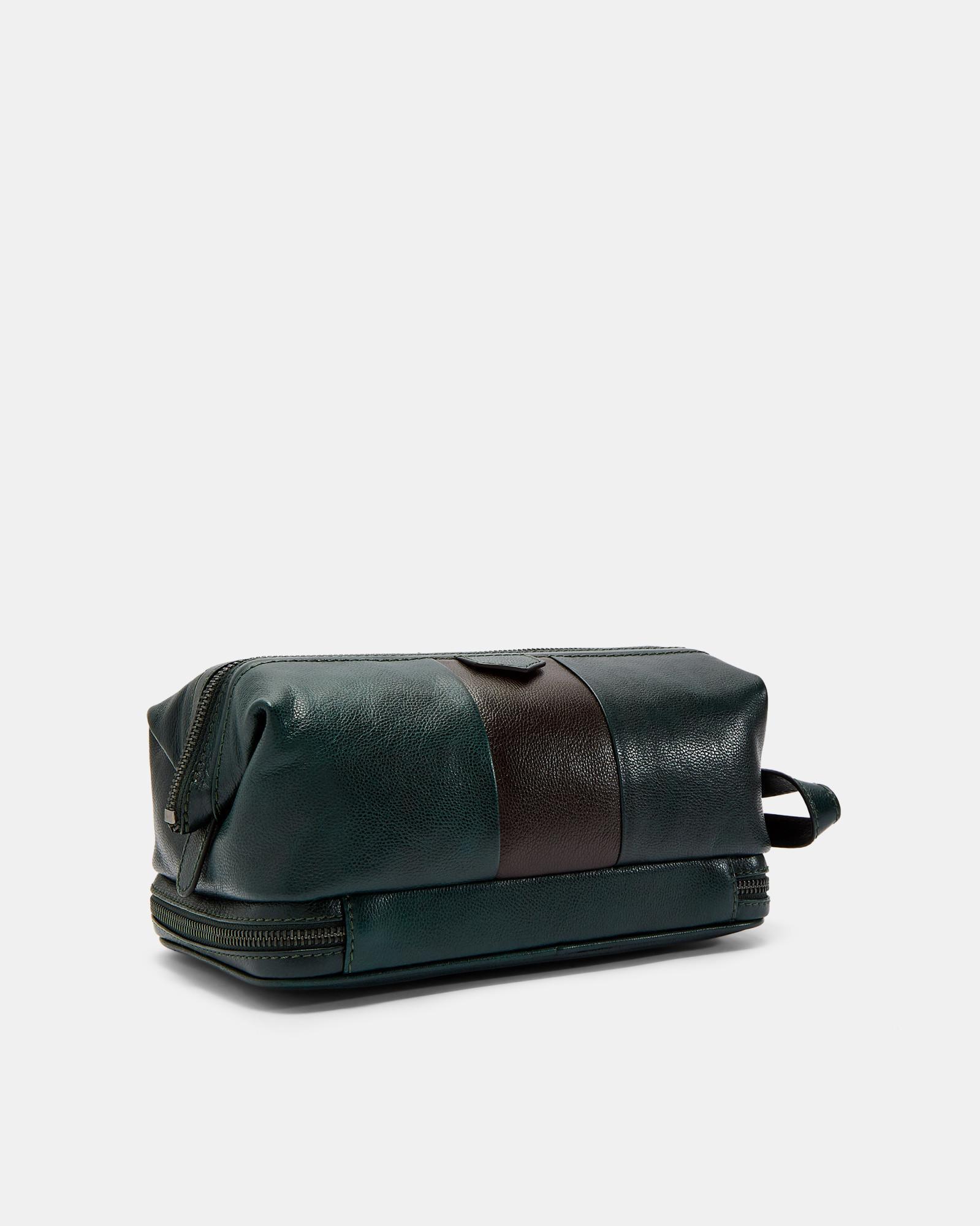 c029db02c Ted Baker - Green Eyez Striped Leather Washbag for Men - Lyst. View  fullscreen