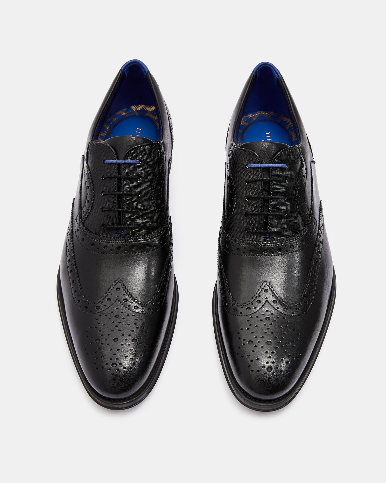 e1b08f2ac22e01 Lyst - Ted Baker Leather Wing Cap Brogues in Black for Men