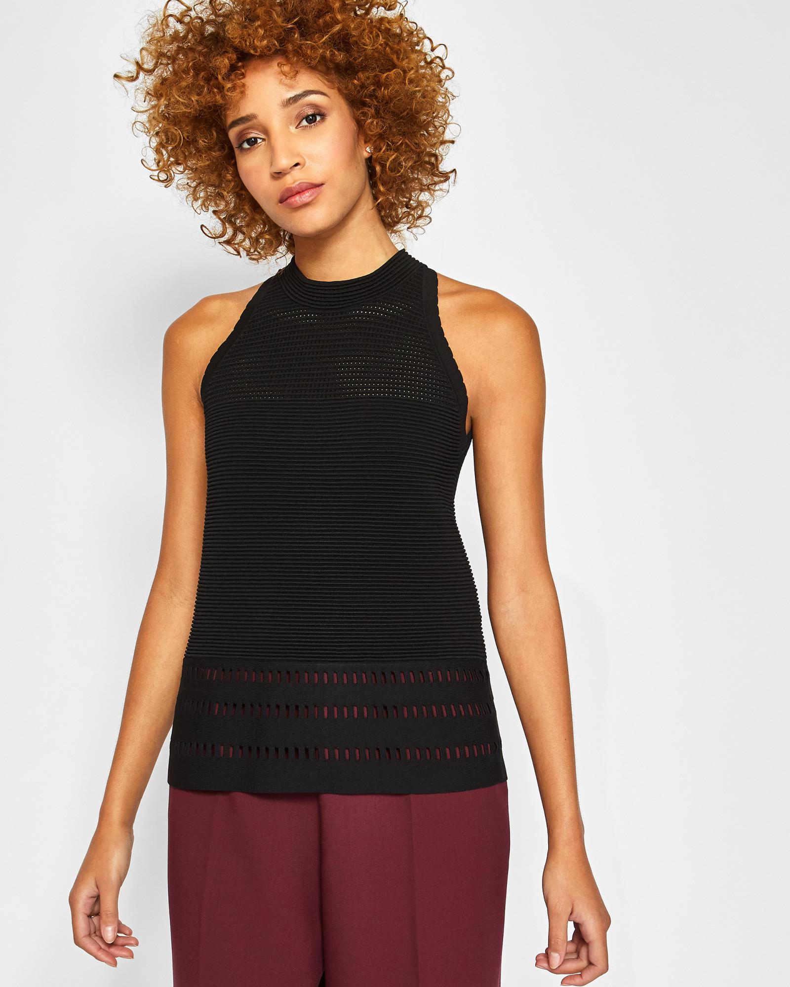 a2374be60 Lyst - Ted Baker Ottoman Knitted Top in Black
