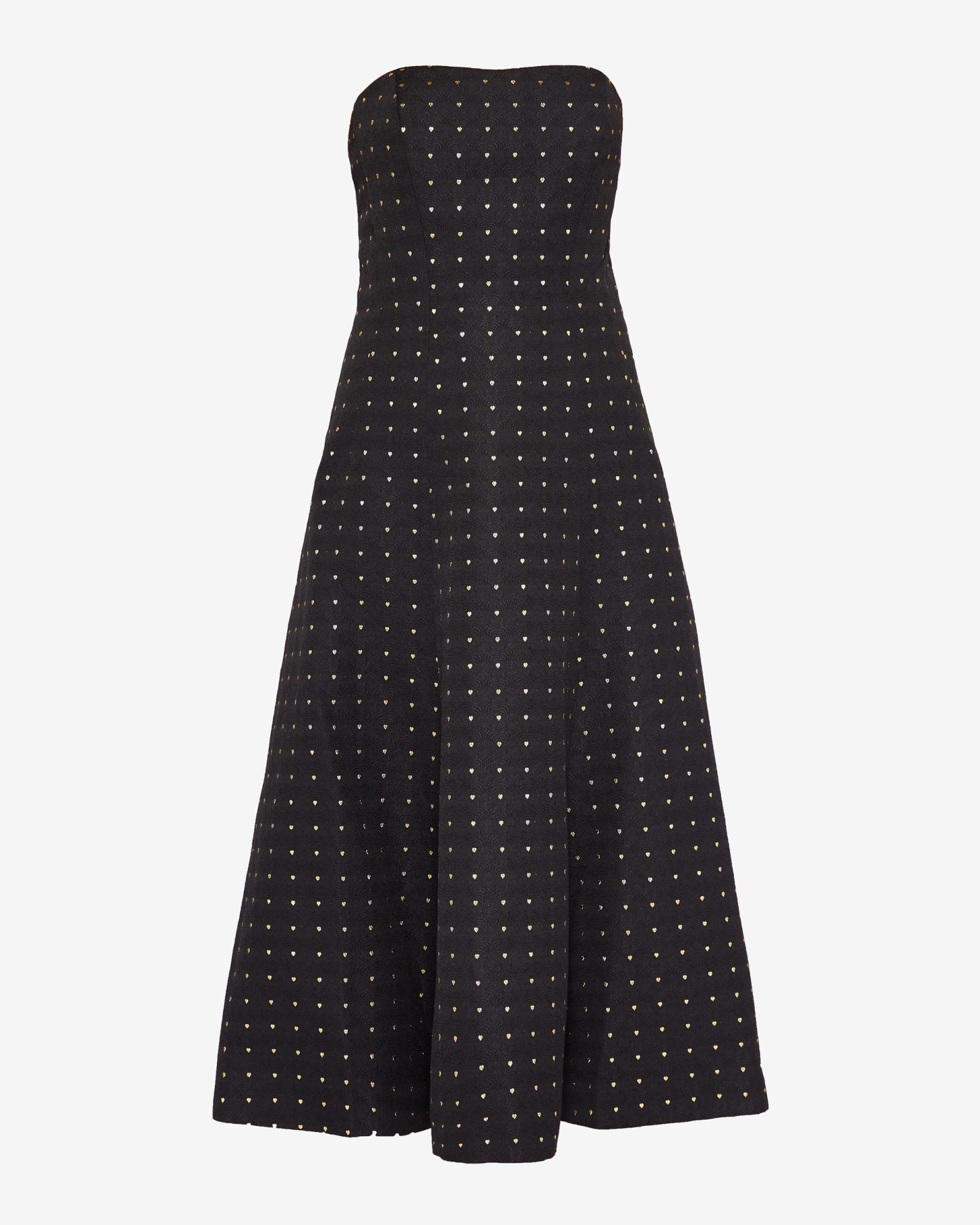 bada4563329c Ted Baker Heart Print Strapless Midi Dress in Black - Lyst