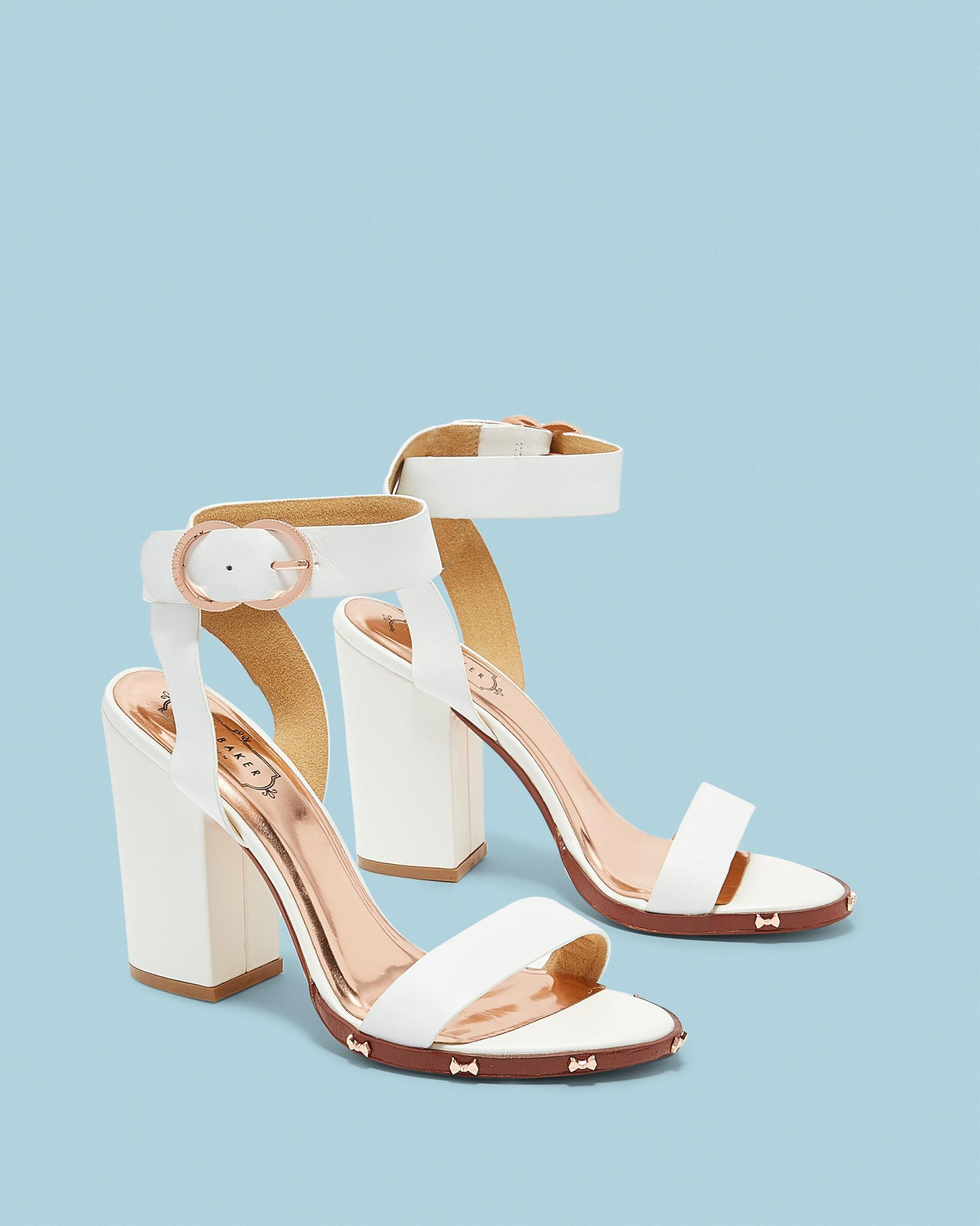 88feaa1a903 Ted Baker Studded Bow Block Heel Sandals in White - Lyst