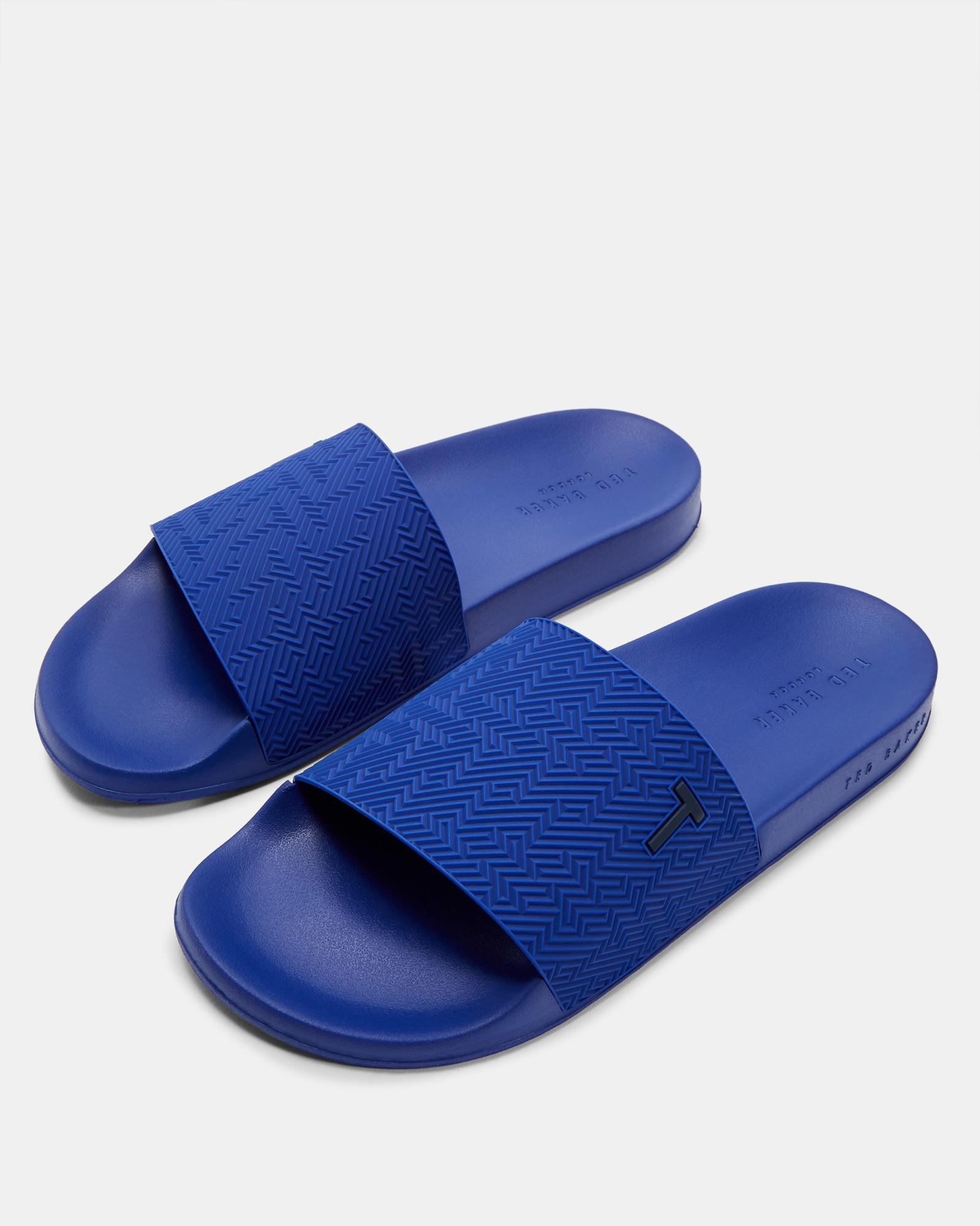 96099b1b6 Lyst - Ted Baker Geo Patterned Sliders in Blue for Men