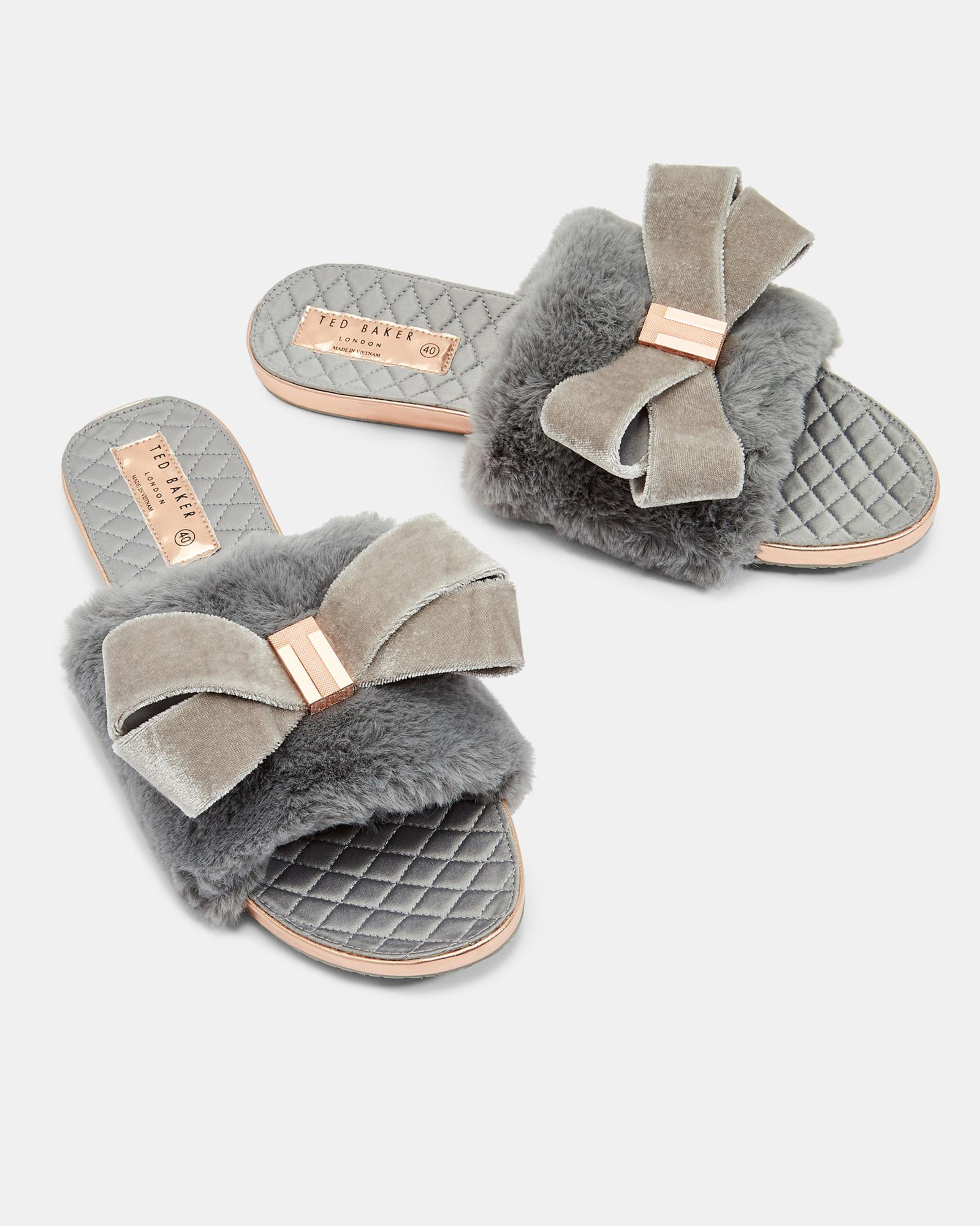 e4115518b009 Lyst - Ted Baker Faux Fur Oversized Bow Slippers in Gray