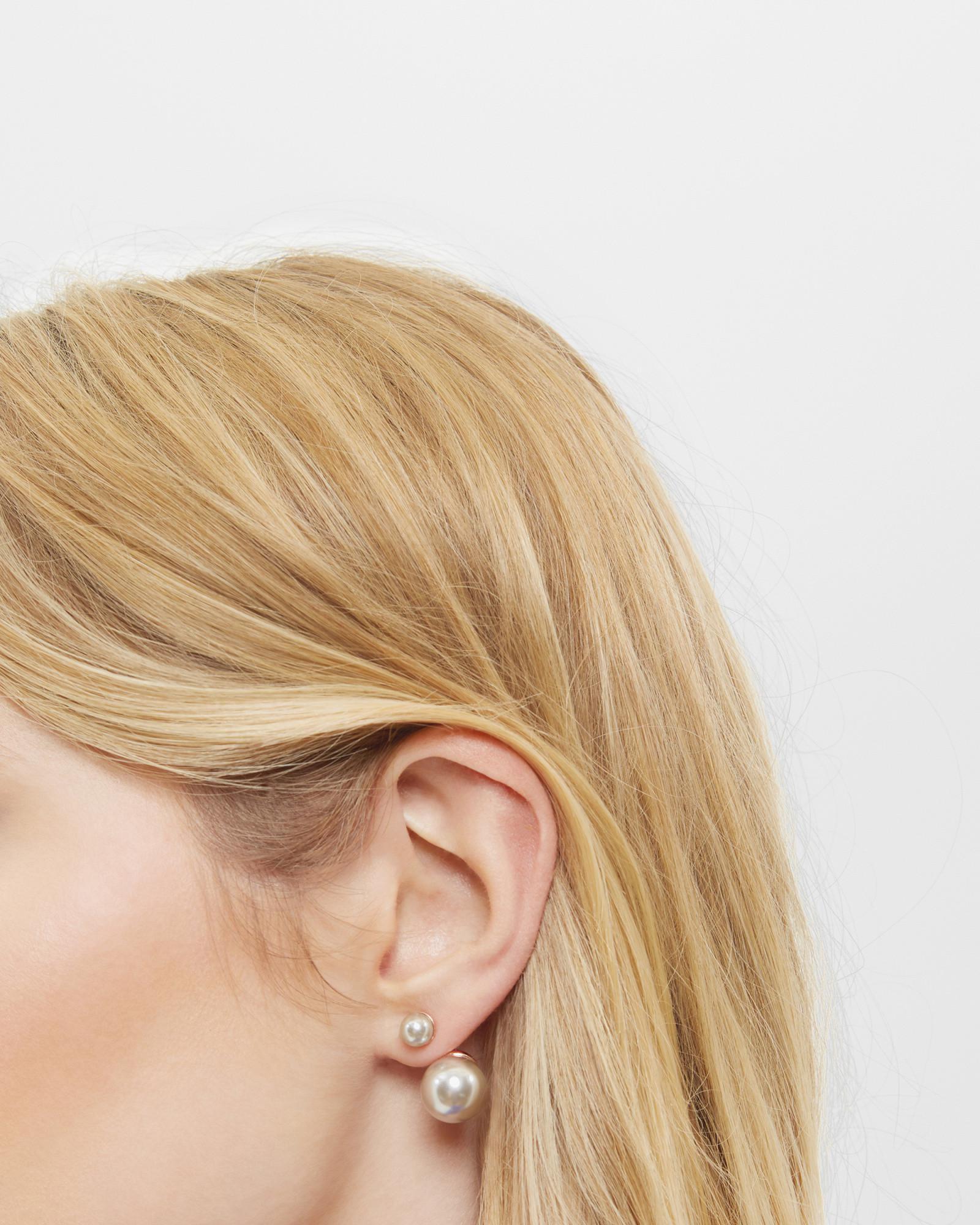 7f7b0bd20 Ted Baker Drop Pearl Earrings in Gray - Lyst