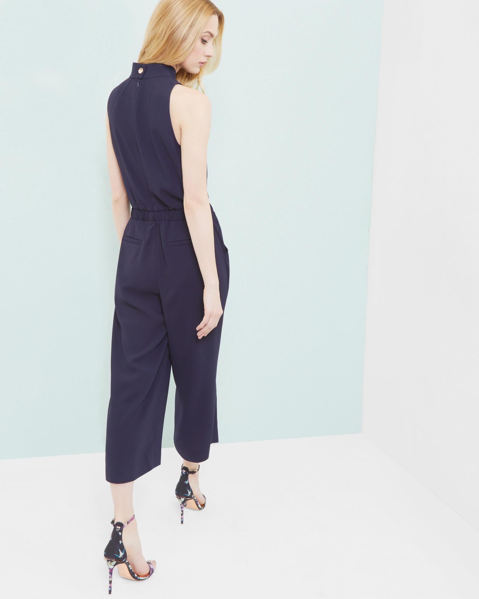 c490850896 Ted Baker Gwendie High Neck Cropped Jumpsuit in Blue - Lyst