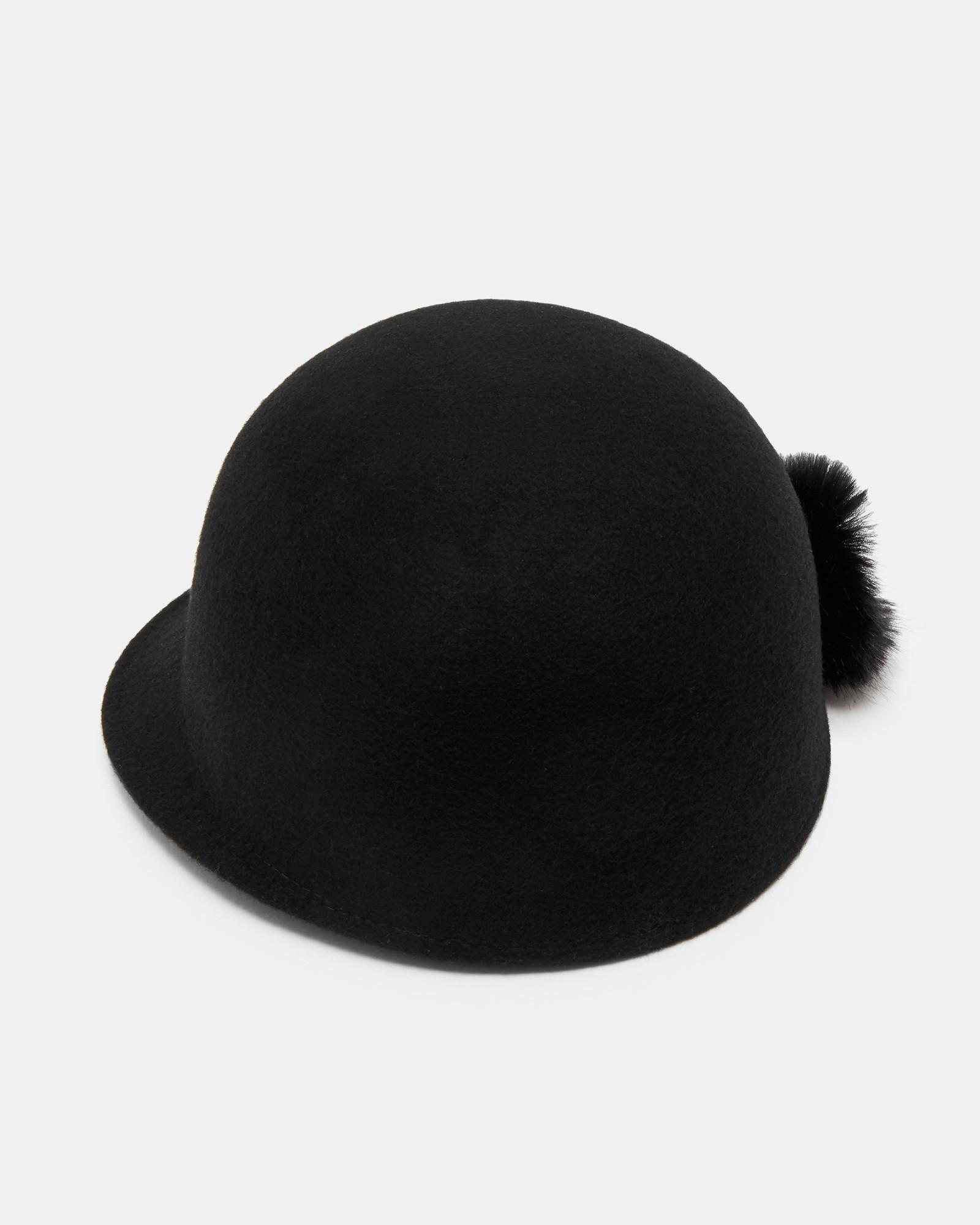 Ted Baker Faux Fur Pom-pom Hat in Black - Lyst cc3e34364aaf
