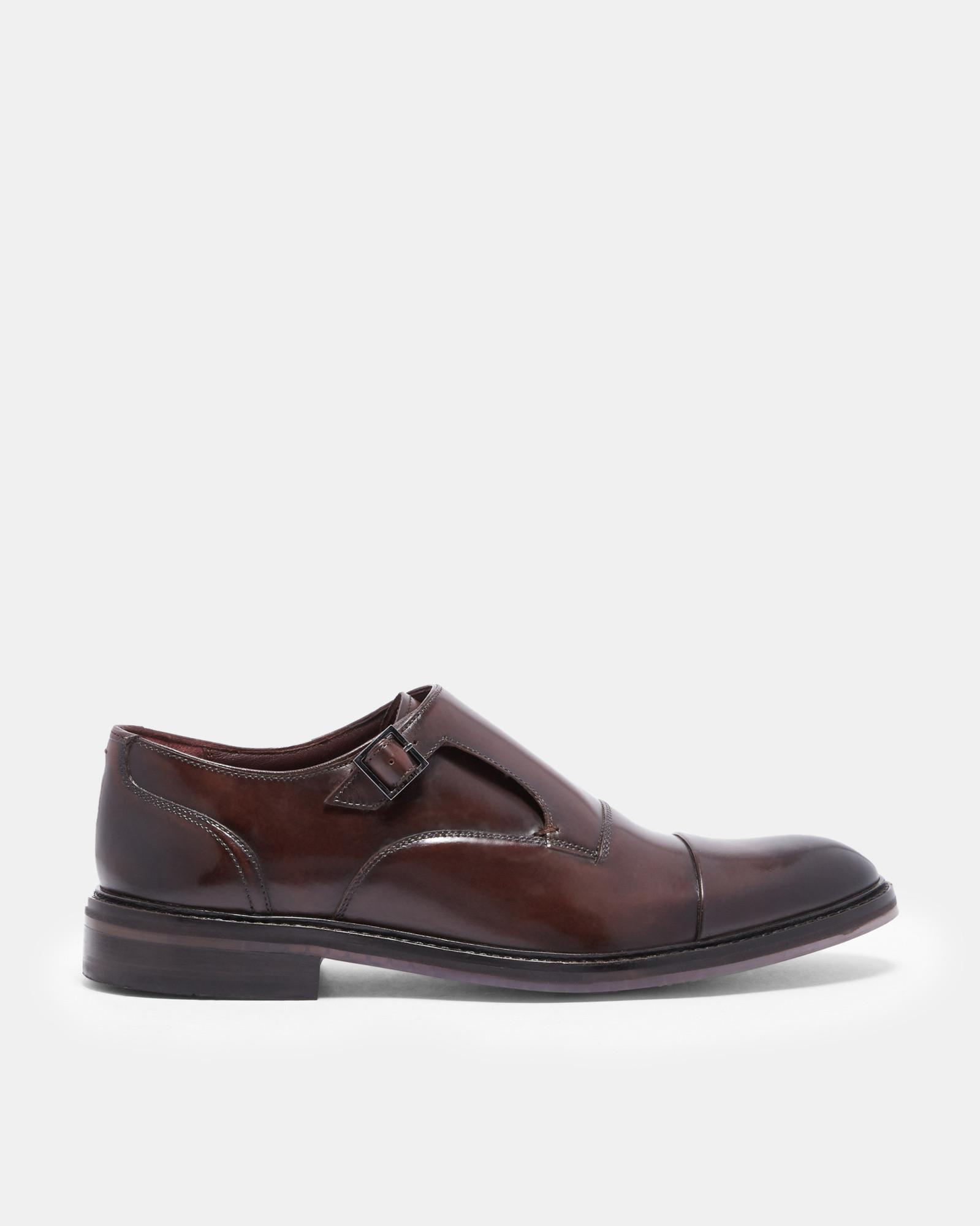 5f2245483574 Ted Baker Leather Monk Strap Shoes in Brown for Men - Lyst