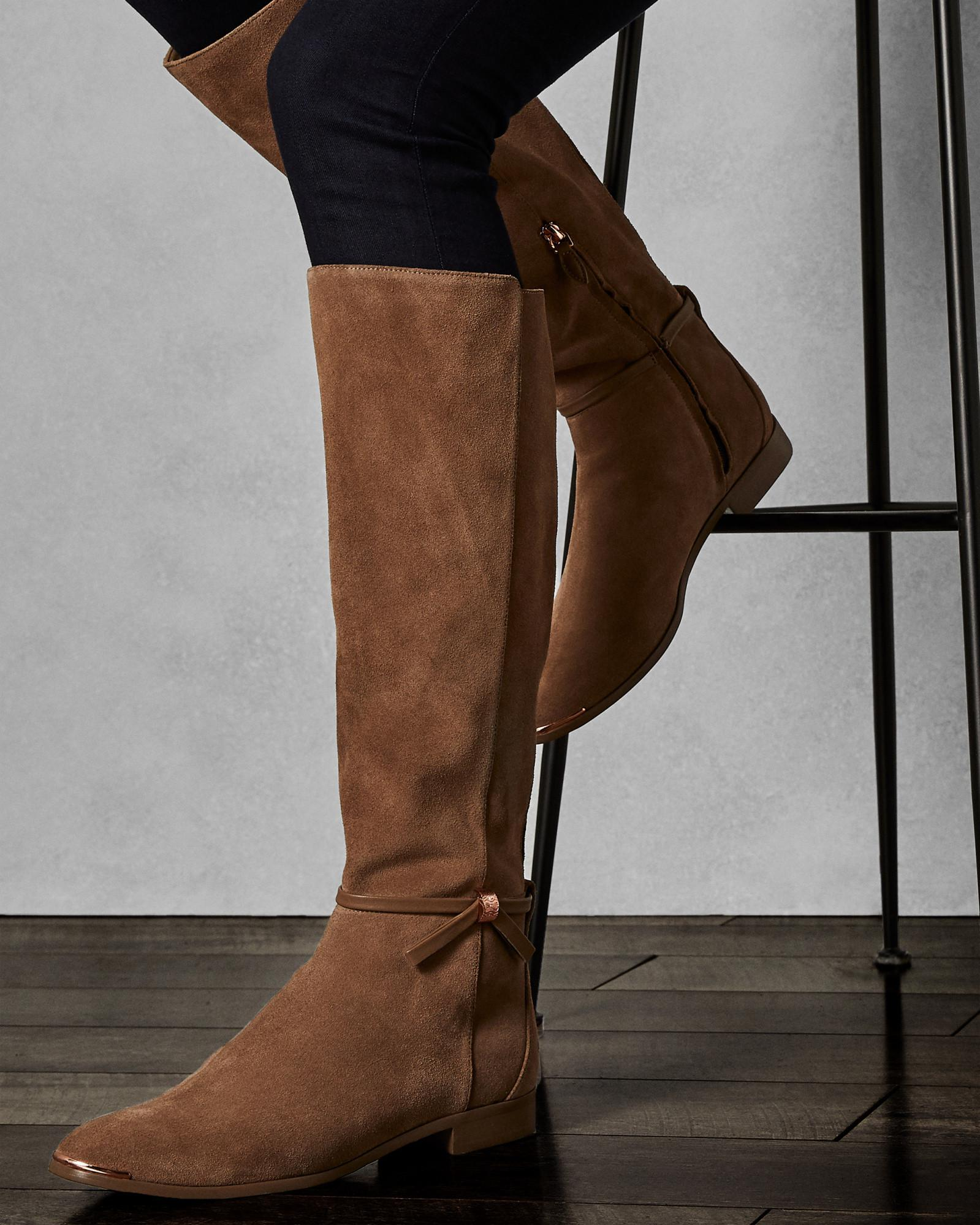 2a75005a2d1ac Ted Baker Knee High Suede Boots in Brown - Lyst