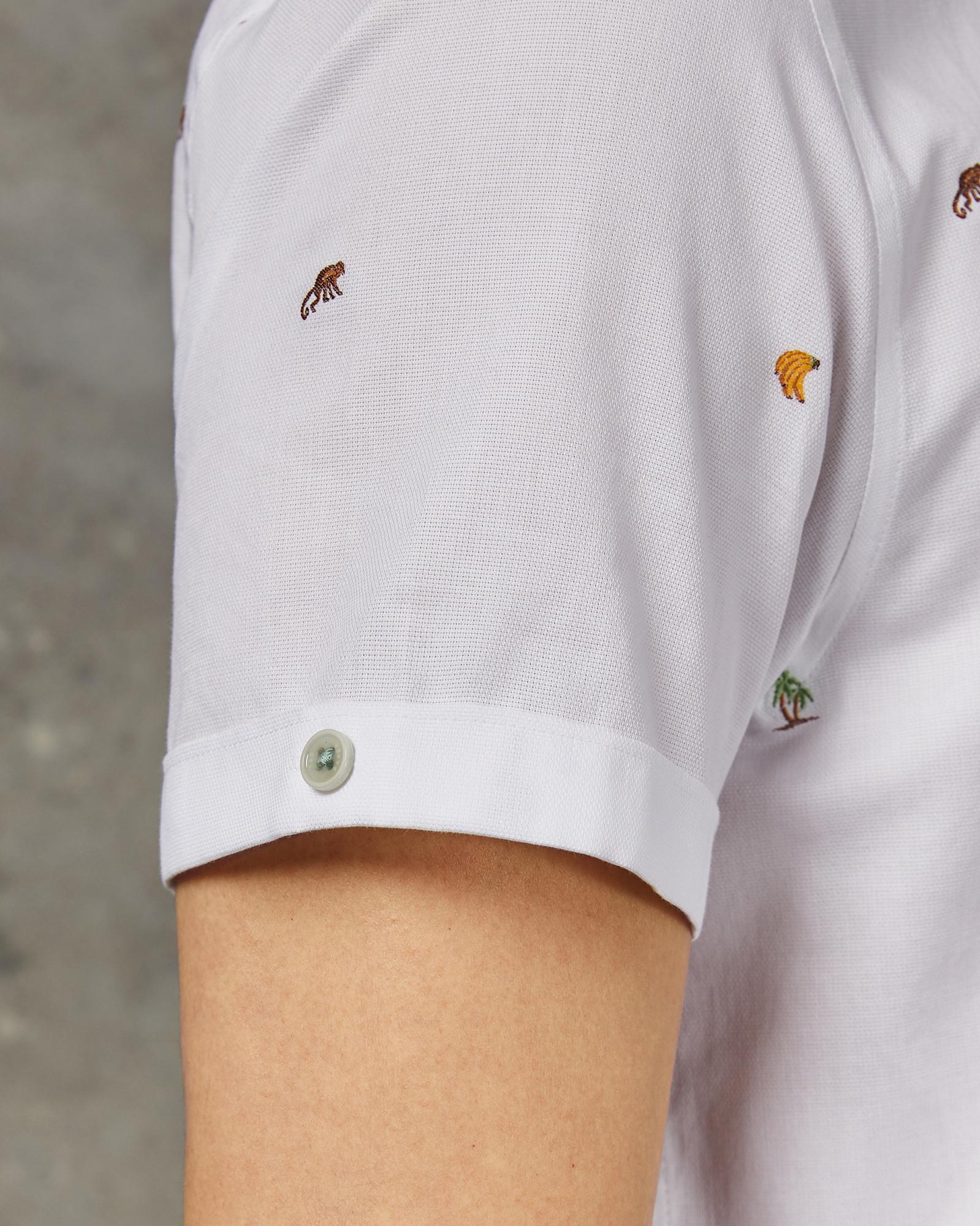 fb2251b82 Lyst - Ted Baker Monkie Monkey Print Fil Coupé Slim Fit Shirt in White for  Men