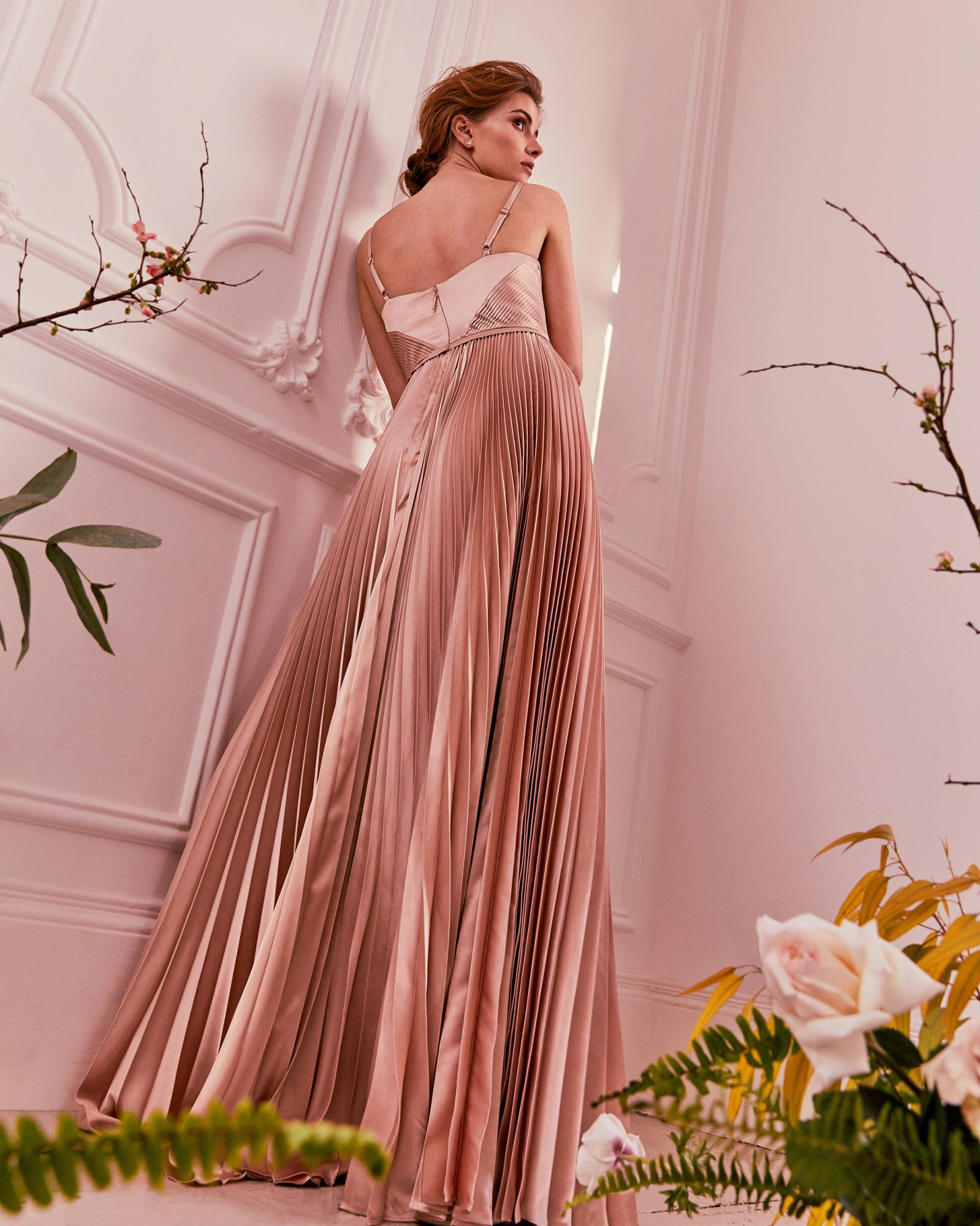 b66d01ef97a6 Lyst - Ted Baker Pleated Satin Maxi Dress in Pink