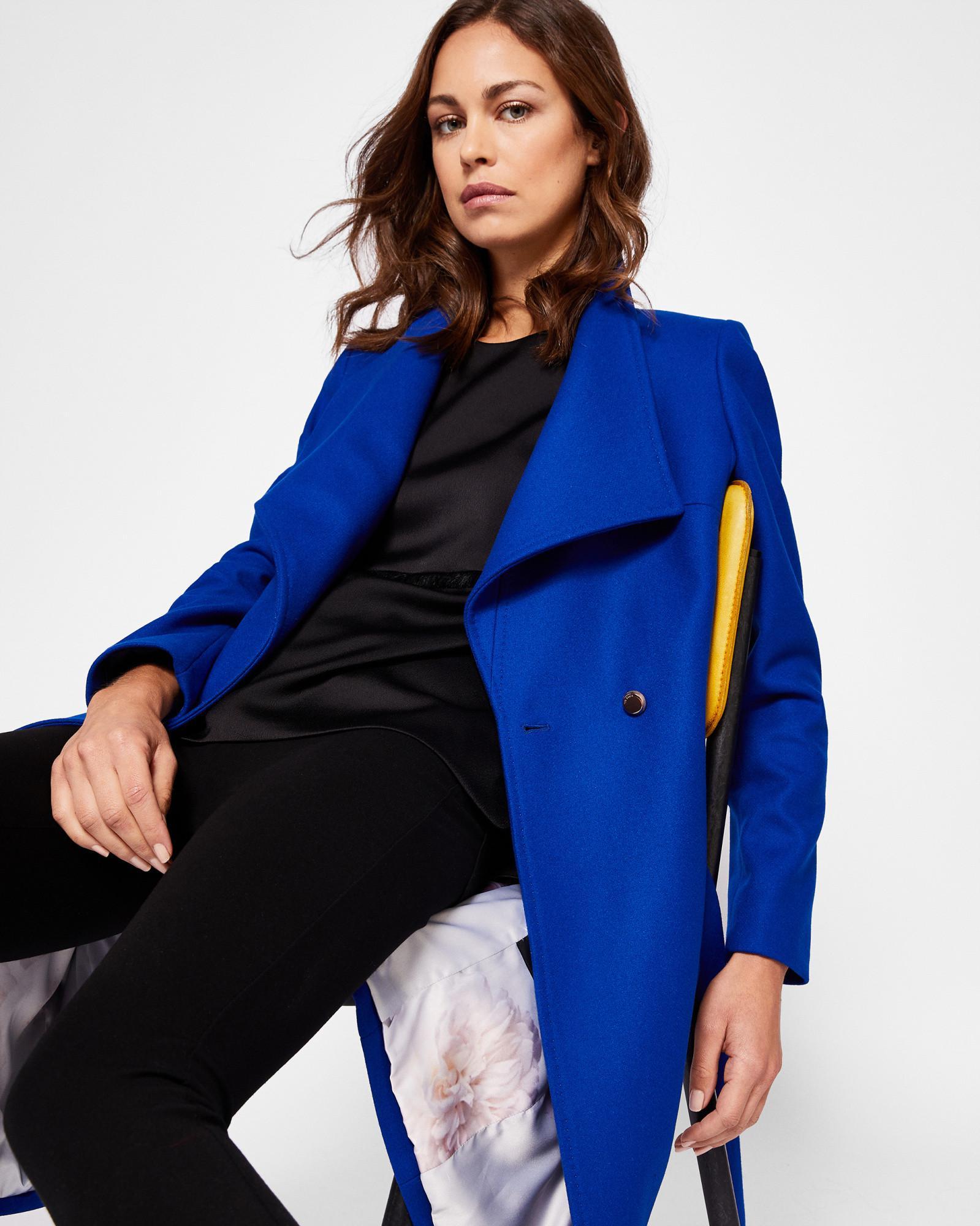 f7e6b9361 Ted Baker Wool-blend Long Wrap Coat in Blue - Lyst