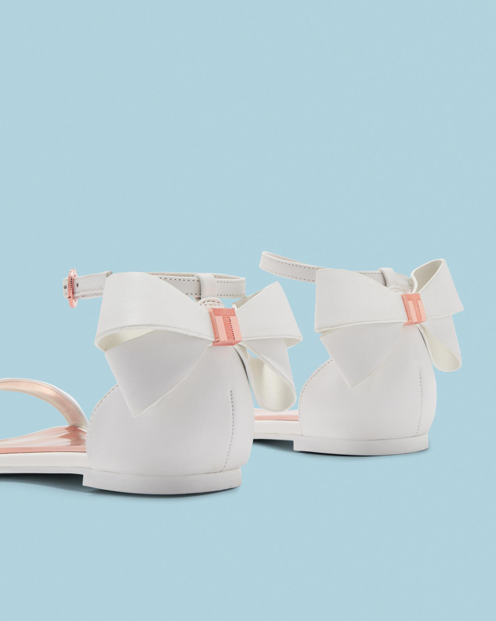 145310180 Ted Baker Bow Heel Flat Sandals in White - Lyst