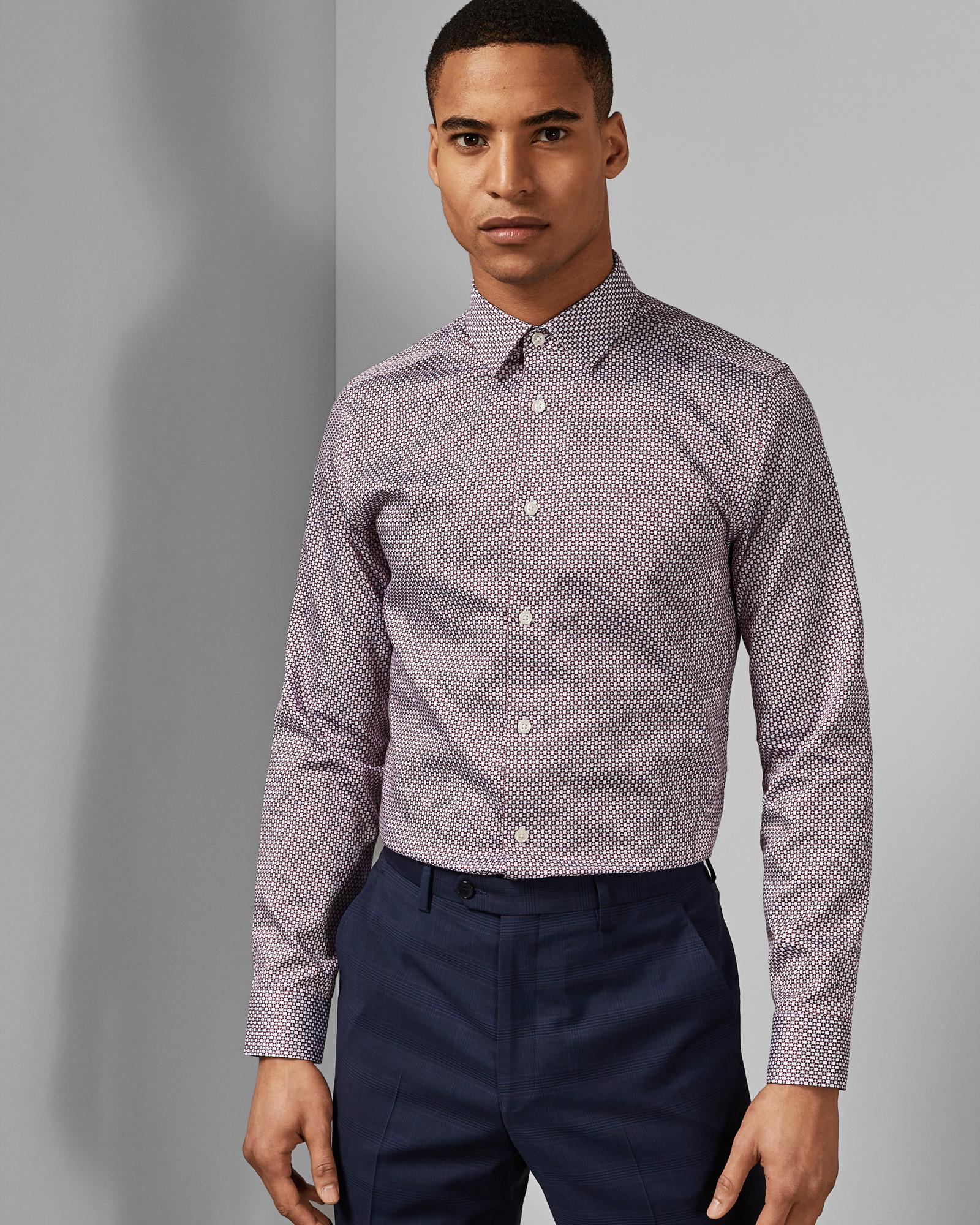 b93c260a5e71 Ted Baker Classic Fit Cotton Shirt in Purple for Men - Lyst