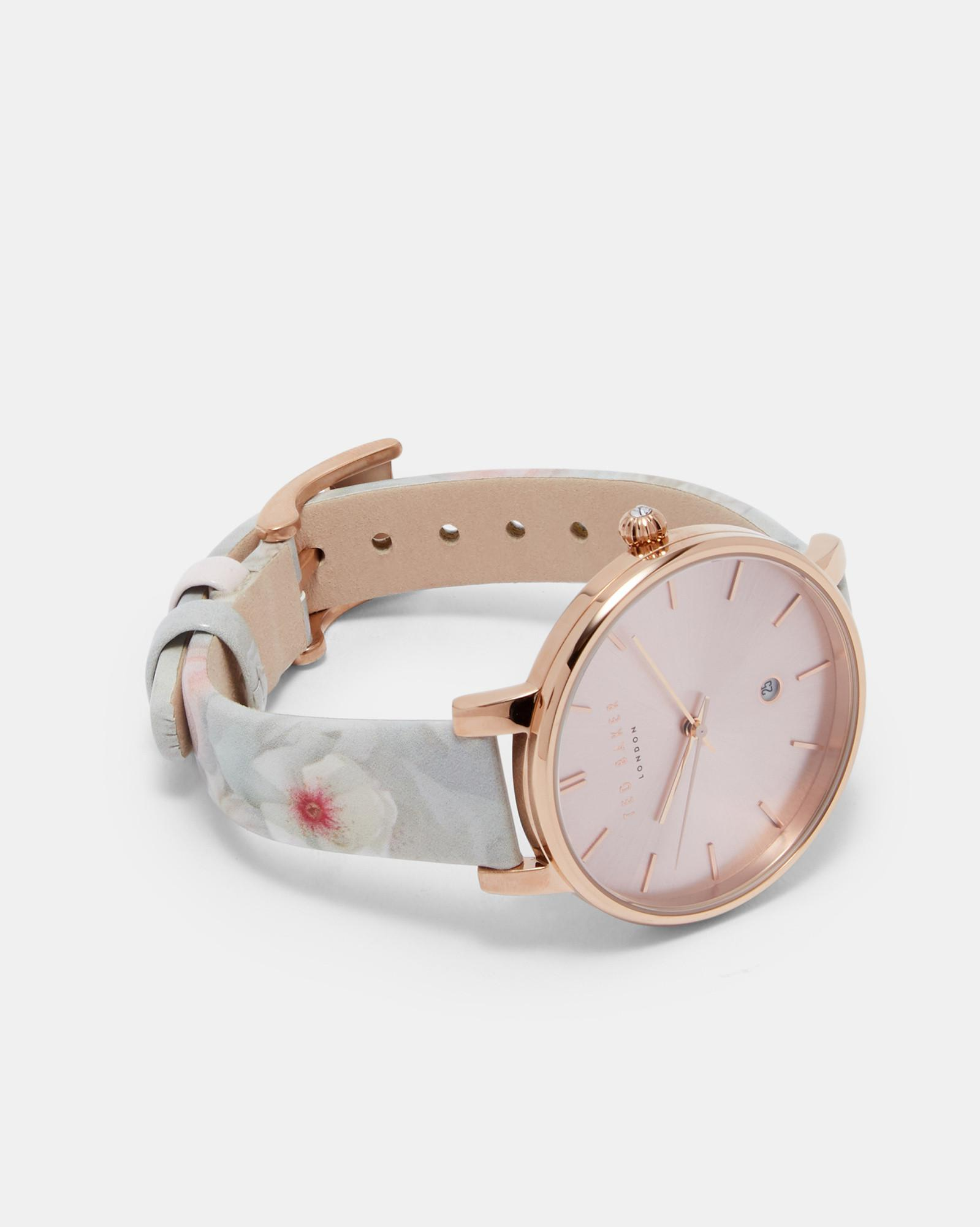 516b9c185862 Ted Baker Chelsea Grey Leather Strap Watch in Gray - Lyst