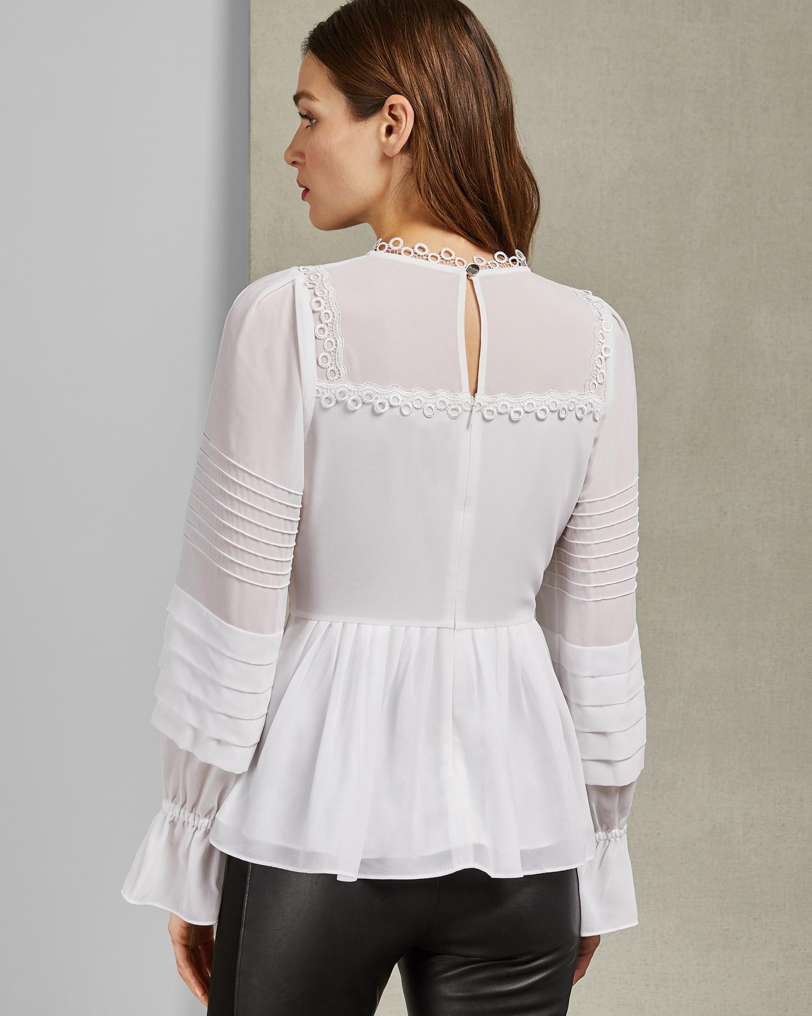 e3eec3e698437 Ted Baker Pintuck Lace Detail Top in White - Lyst