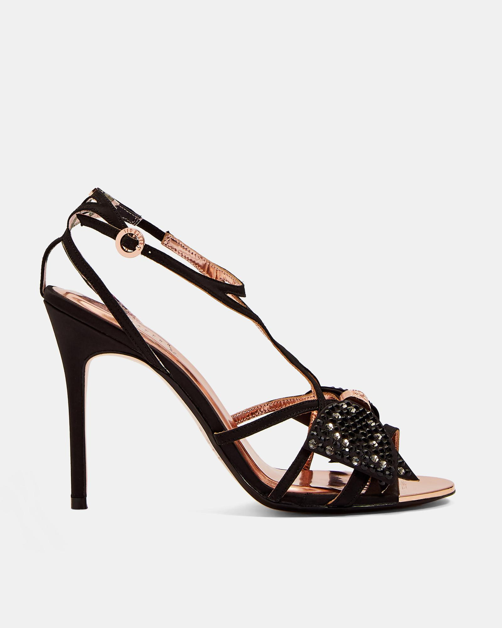8c35187d7 Ted Baker Crystal Bow Strap Sandals in Black - Lyst