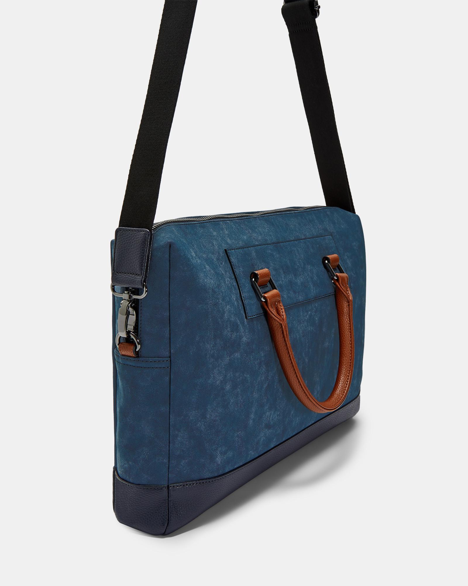 e1b94d9ab Lyst - Ted Baker Nubuck Effect Document Bag in Blue for Men