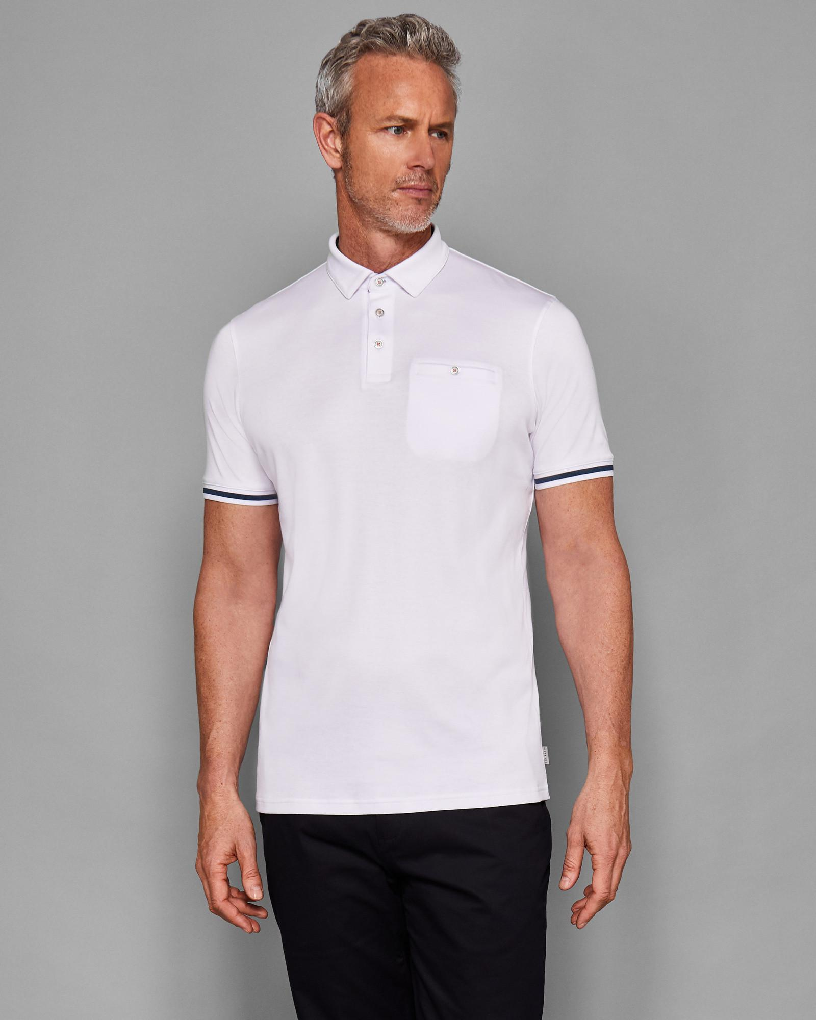 89f07fa785ee Lyst - Ted Baker Striped Cuff Polo Shirt in White for Men
