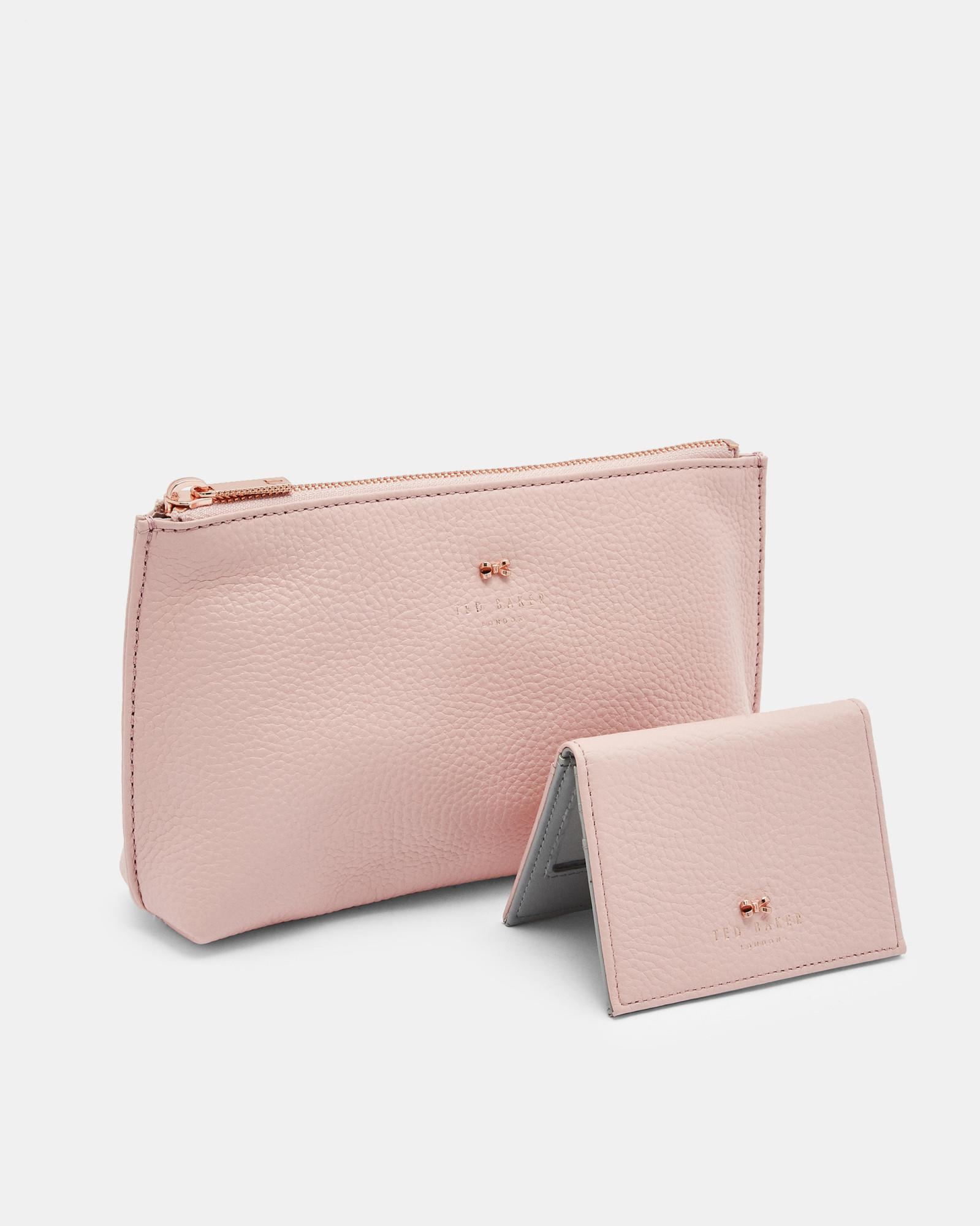 1d3463433 Lyst - Ted Baker Leather Wash Bag And Mirror Set in Pink