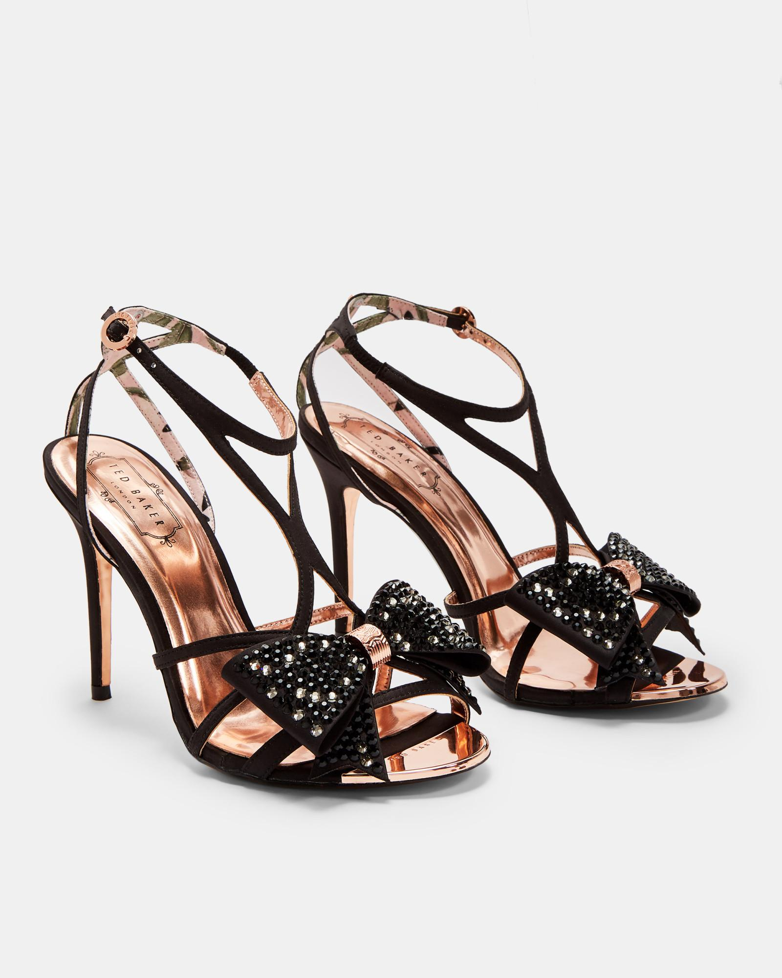 5443f2f785d Lyst - Ted Baker Bow Detail Strappy Sandals in Black