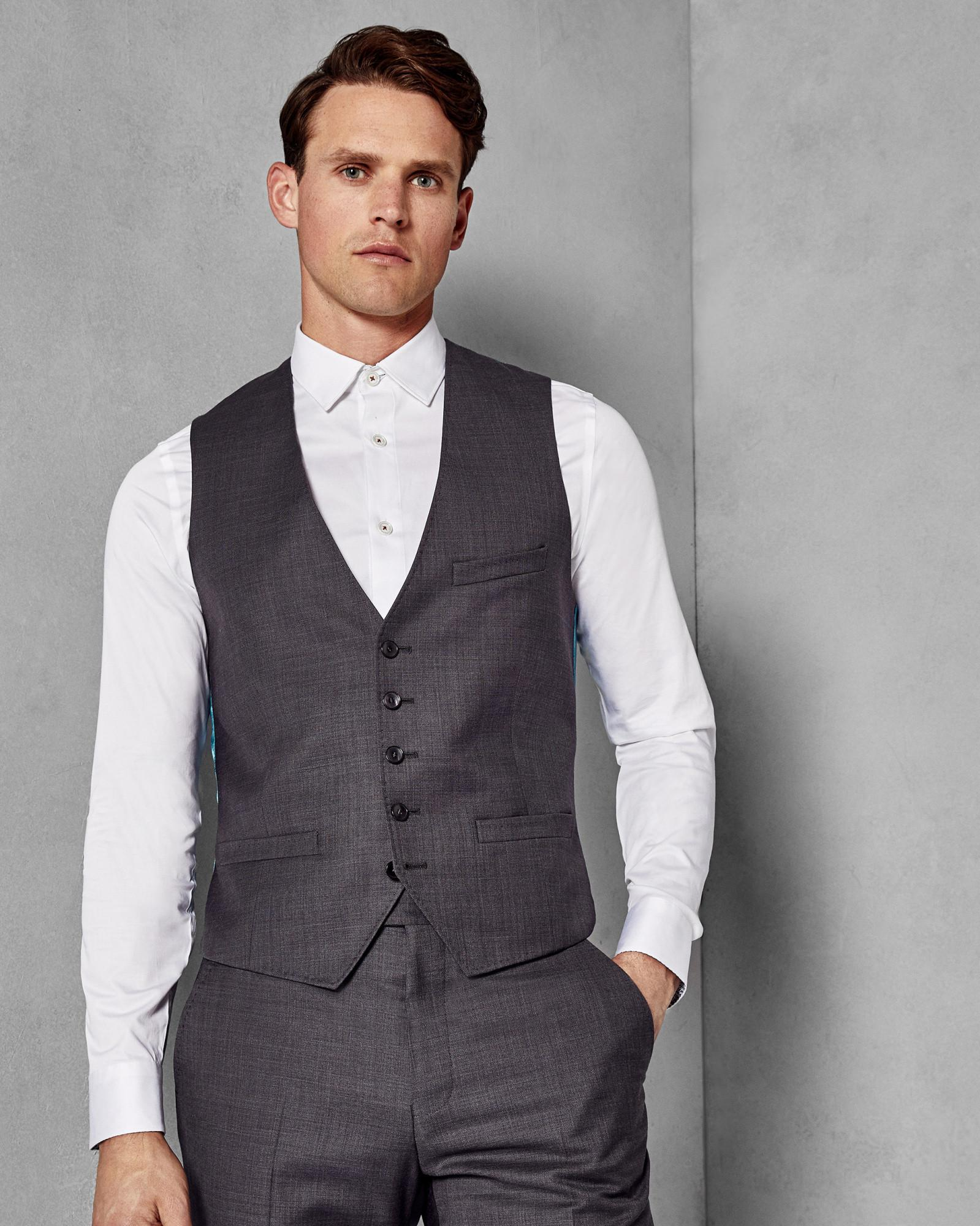 12d5d01d93c2 Lyst - Ted Baker Debonair Slim Plain Wool Waistcoat in Gray for Men