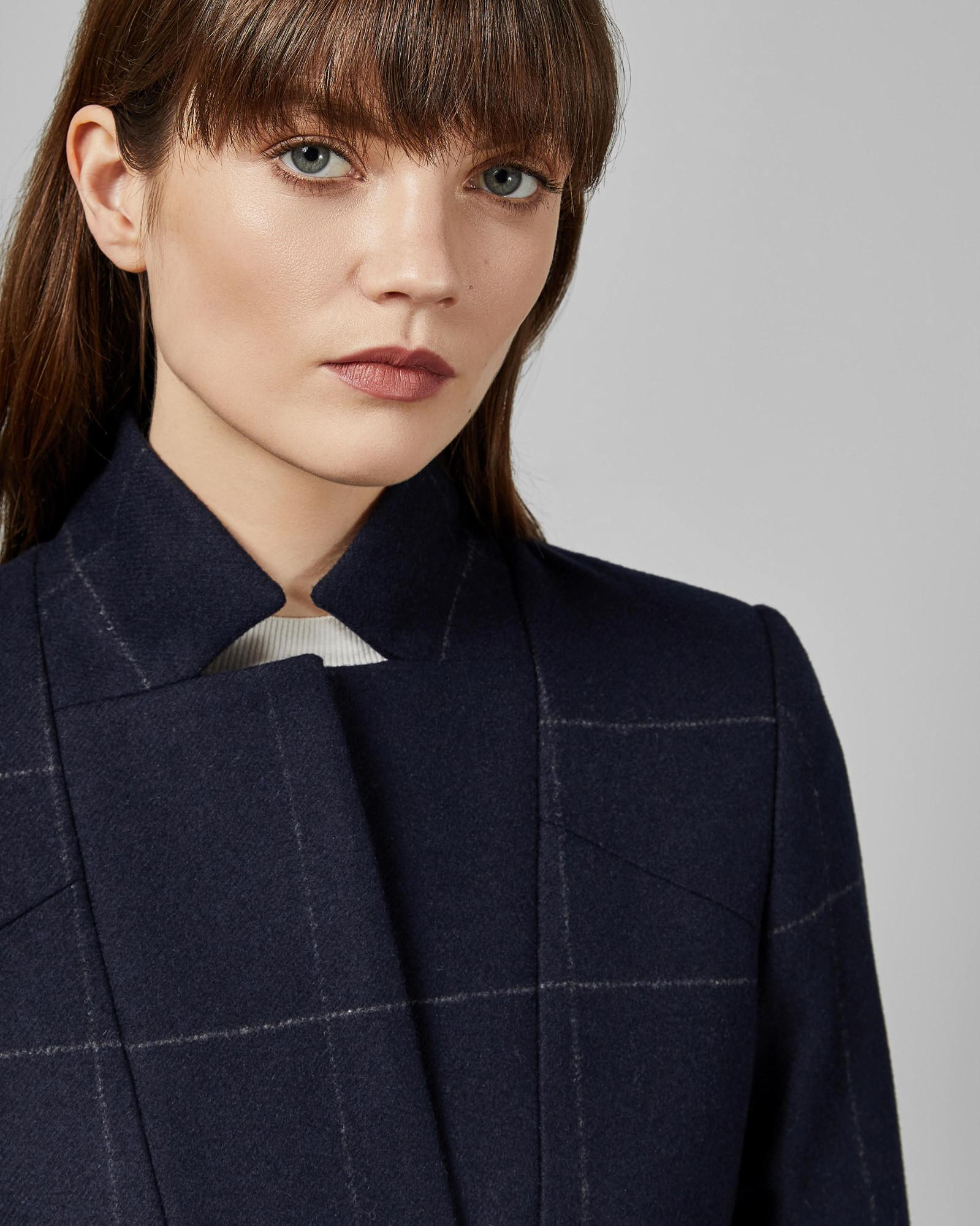 9b81e7ef8e77 Lyst - Ted Baker Checked Cuff Detail Trench Coat in Blue