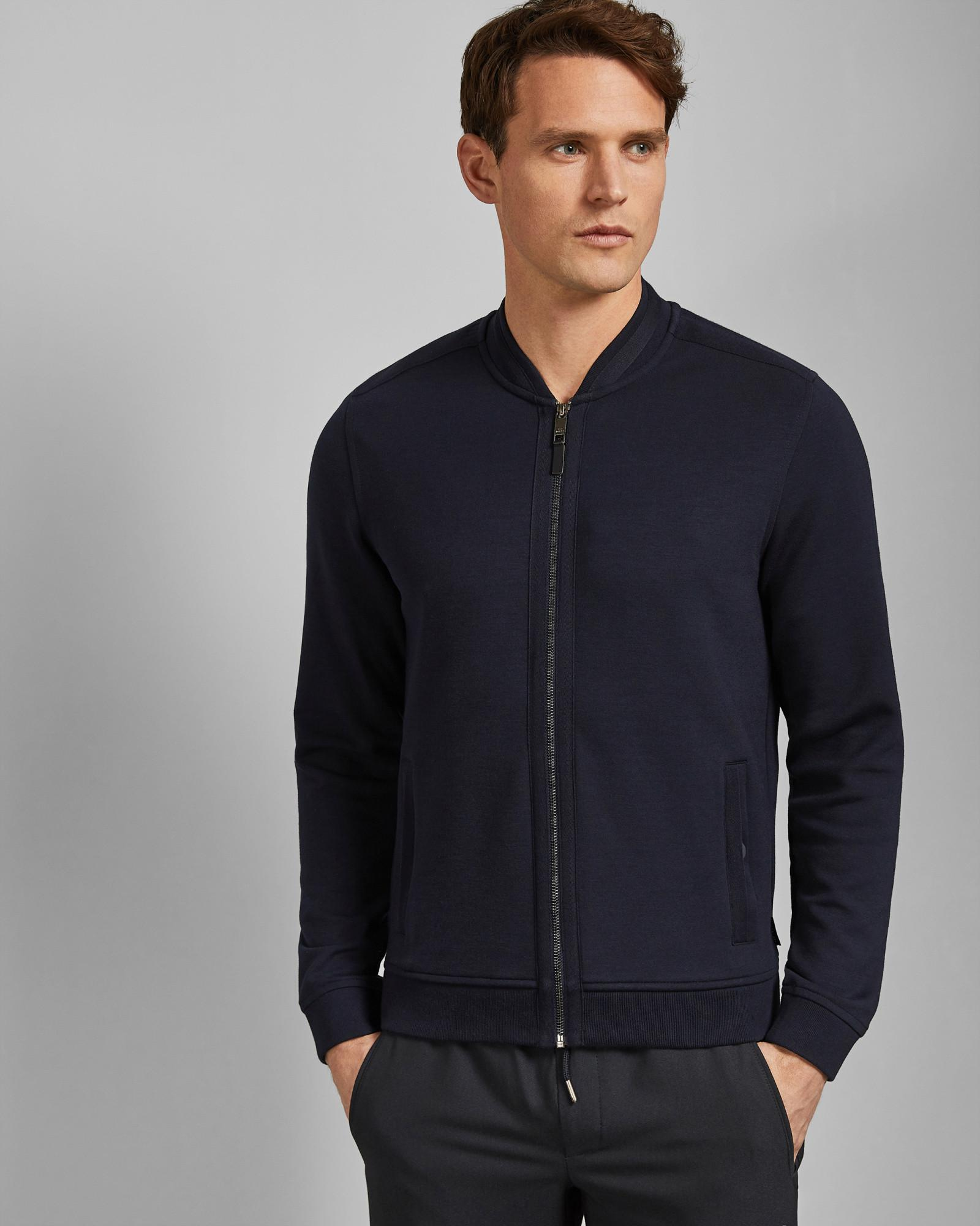 d232f6a1f0f702 Lyst - Ted Baker Bomber Jacket With Woven Panels in Blue for Men