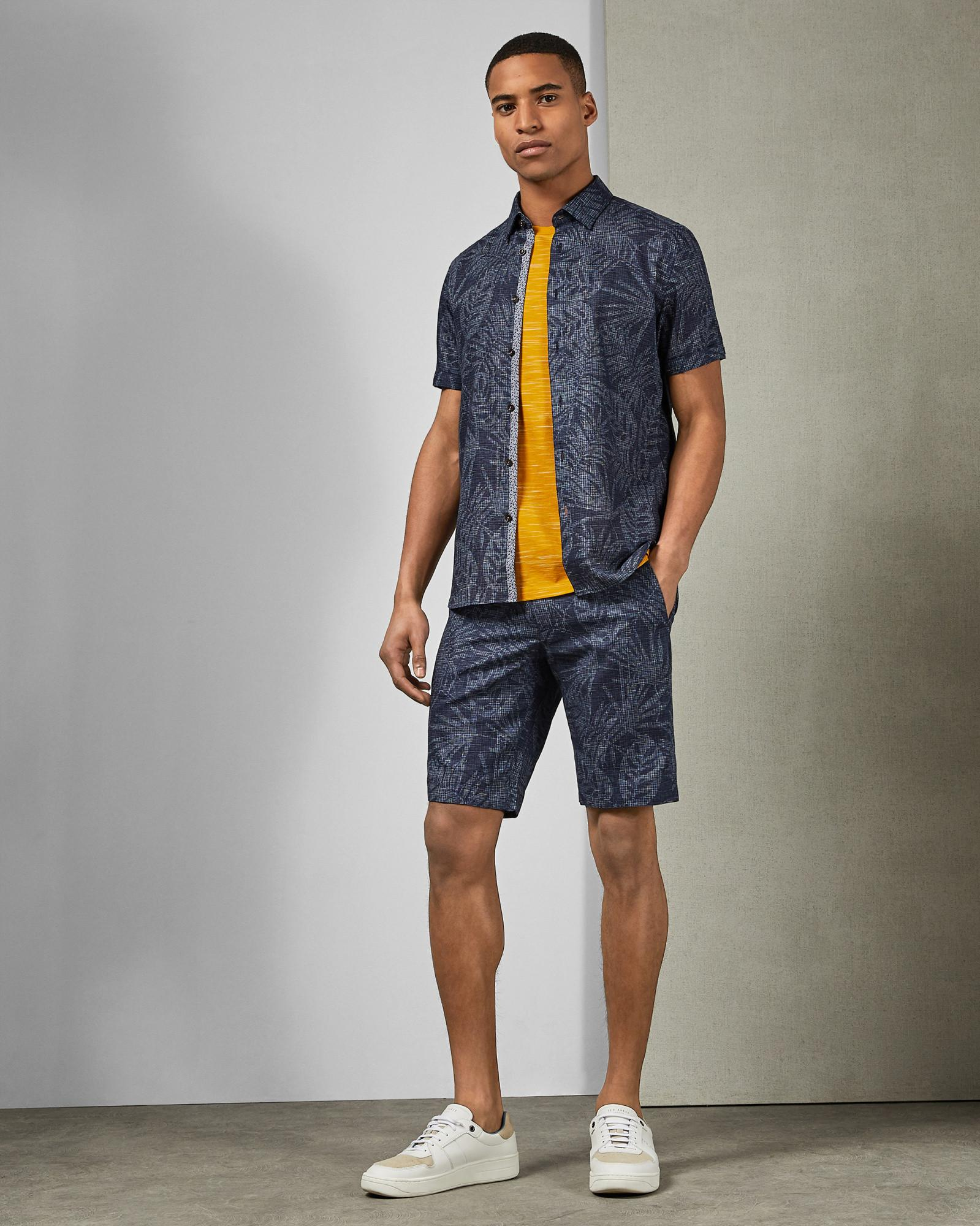 0a8b71b43945 Lyst - Ted Baker Palm Print Cotton Shirt in Blue for Men