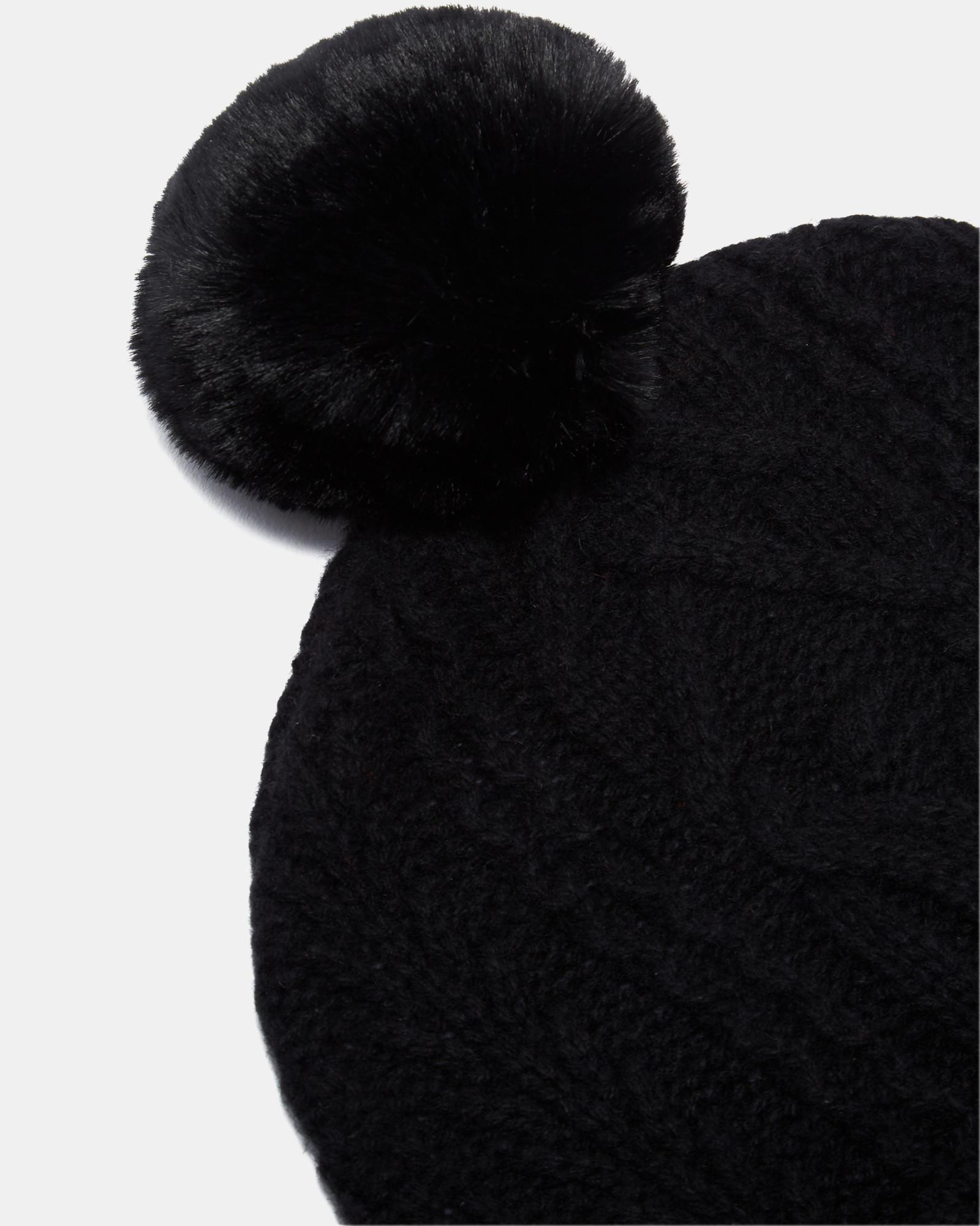 Lyst - Ted Baker Cable Knit Wool-blend Bobble Hat in Black 091a1eded5a