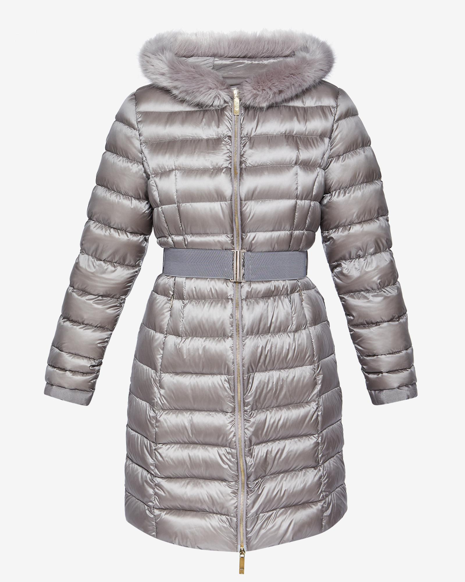 418ebee60b721 Lyst - Ted Baker Long Hooded Puffer Coat in Gray