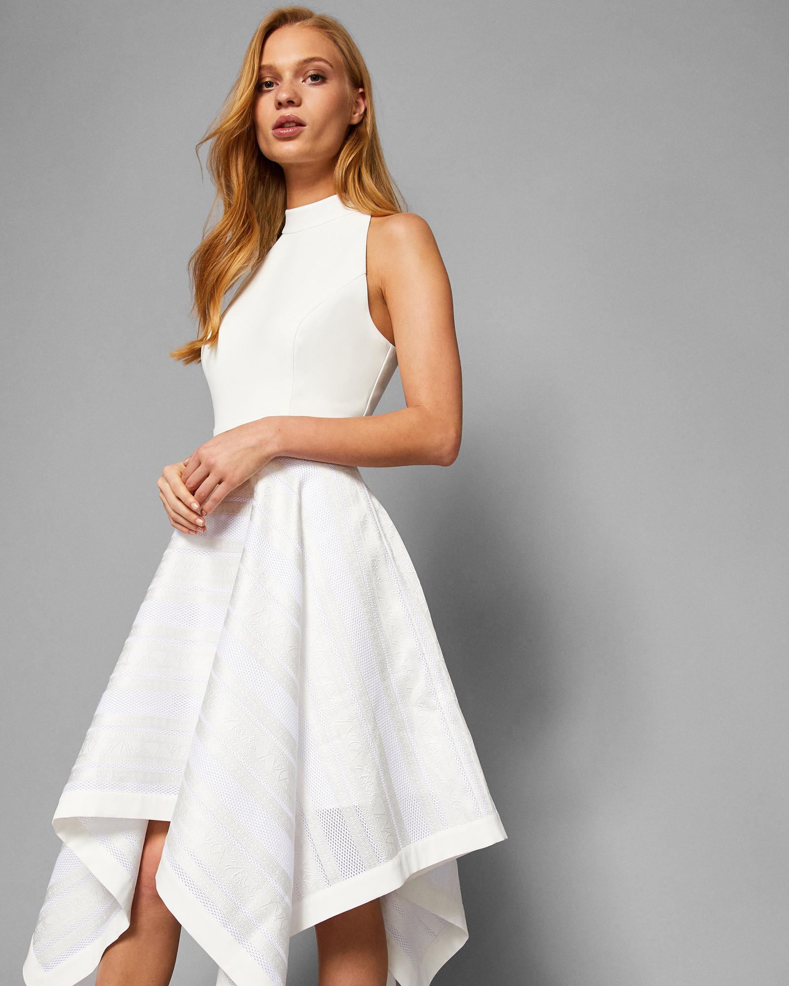 07d8e4d12f986 Ted Baker Draped Skirt Dress in White - Lyst