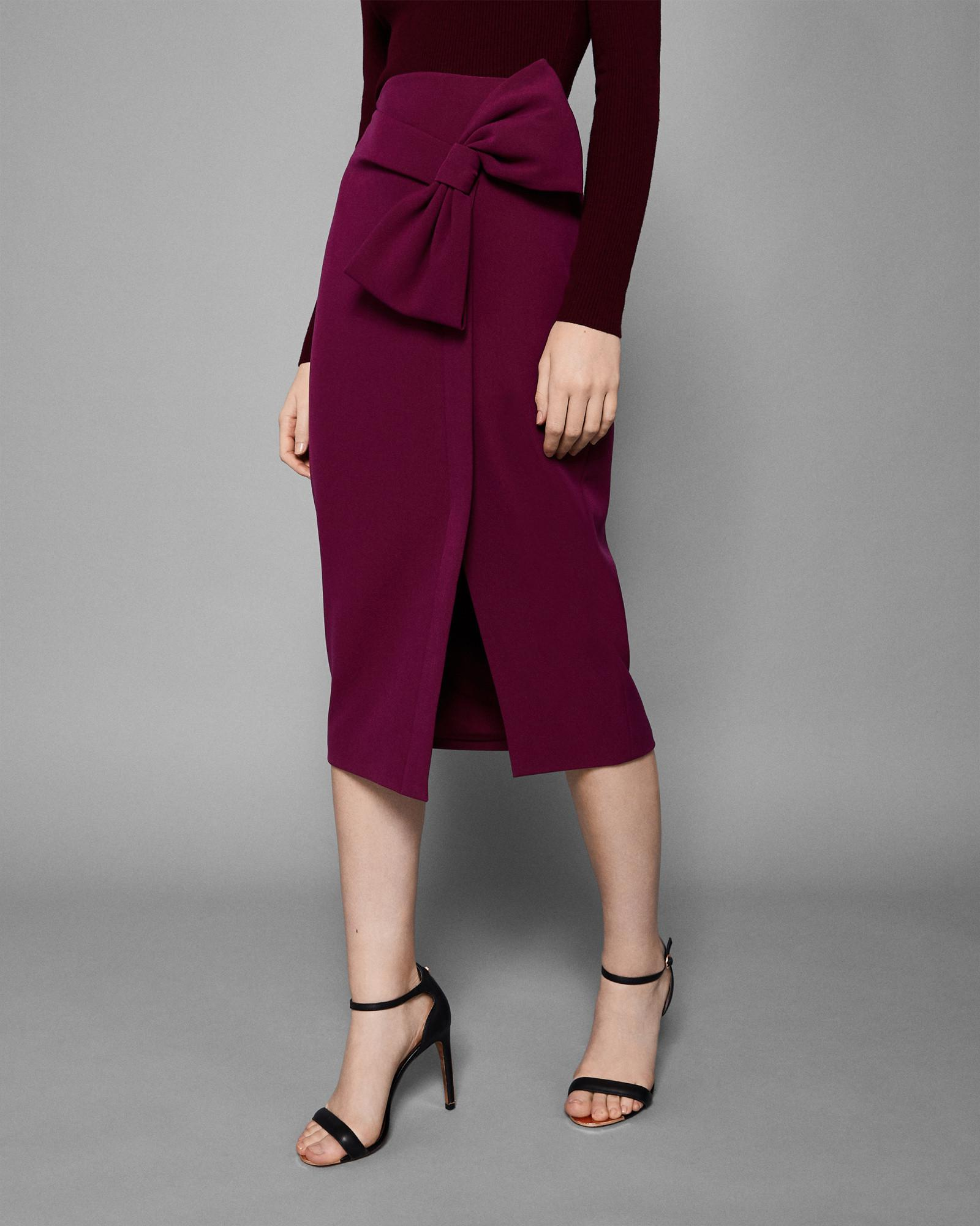 802807f9abade6 Lyst - Ted Baker Bow Trim Pencil Skirt in Purple