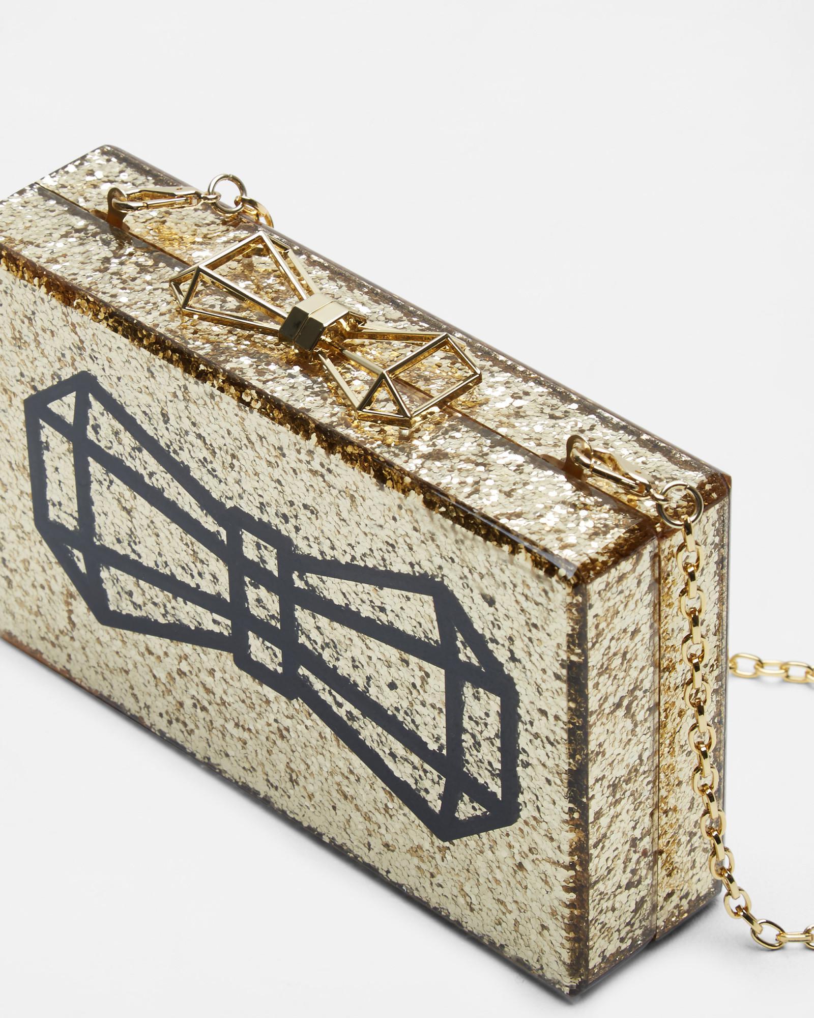 0dd7a6808e Ted Baker Bow Glitter Clutch Bag in Metallic - Lyst