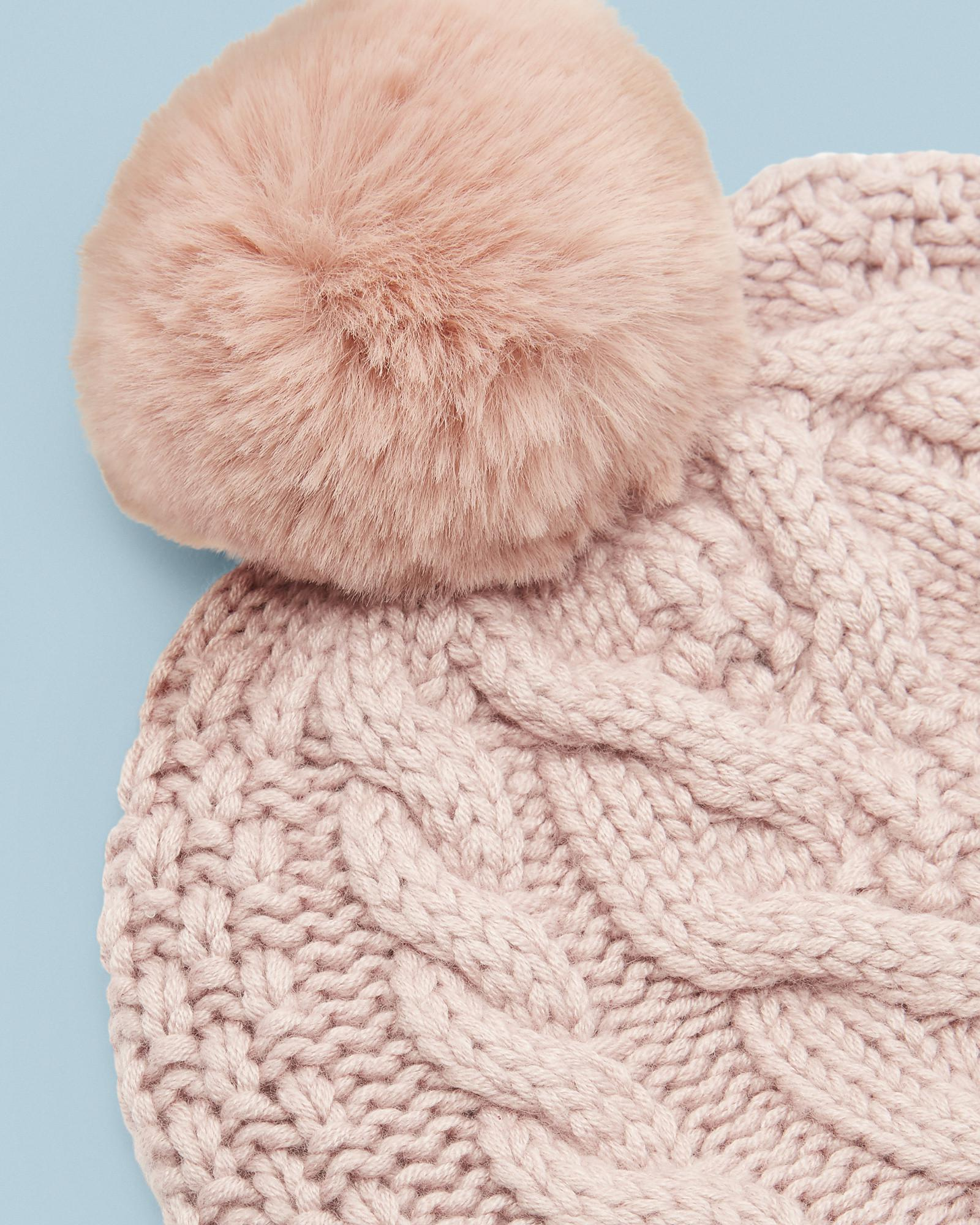 2fbfdf56edcae Ted Baker Cable Knit Wool Pom Hat in Pink - Lyst