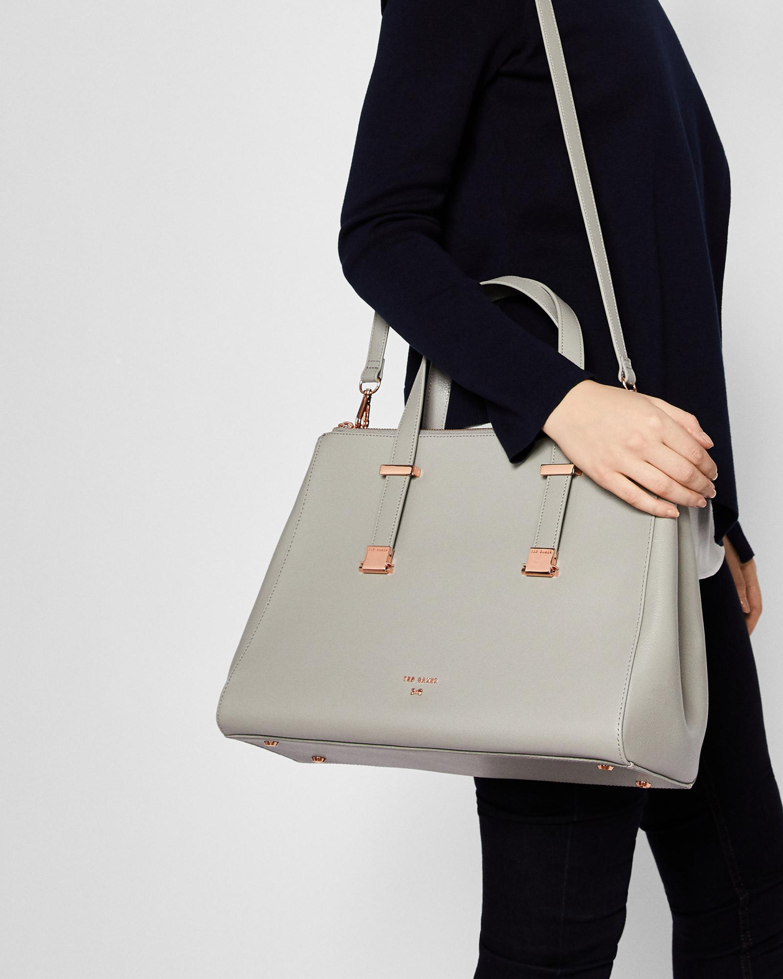 adec4d4b3569 Ted Baker Adjustable Handle Large Leather Tote Bag in Gray - Lyst
