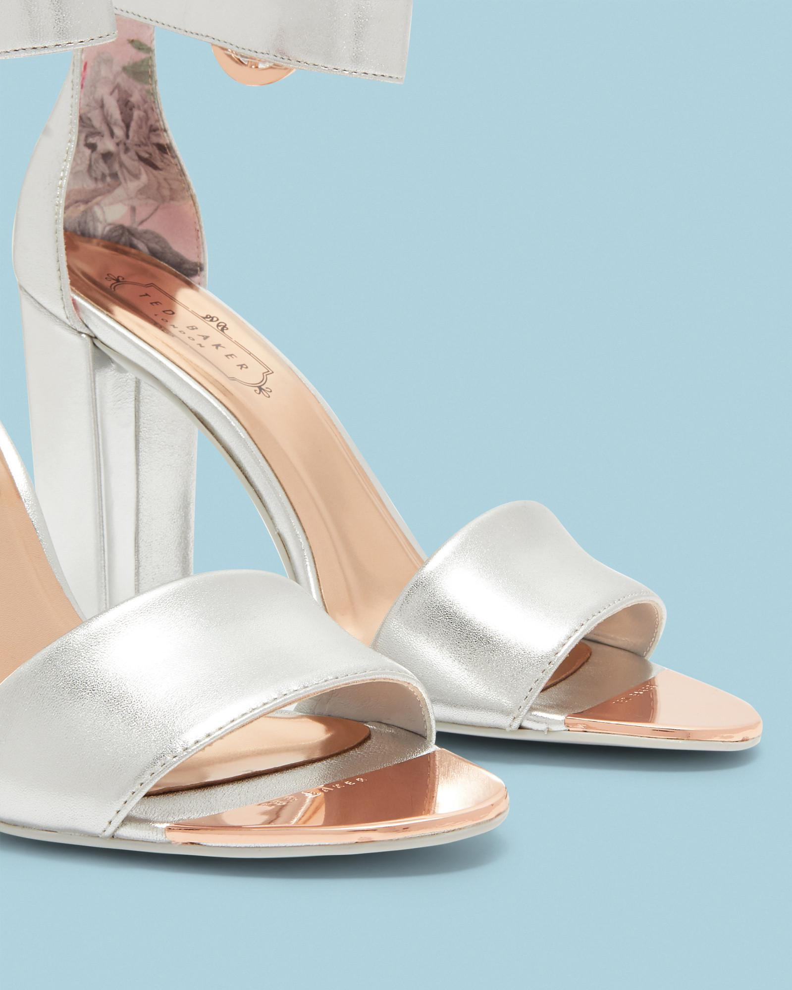 14b639304f2 Lyst - Ted Baker Double Strap Leather Sandals in Metallic