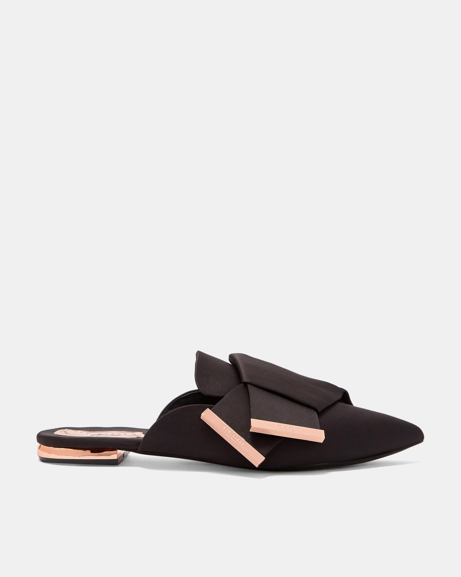 31f26624b Ted Baker Knotted Bow Backless Satin Loafers in Black - Lyst